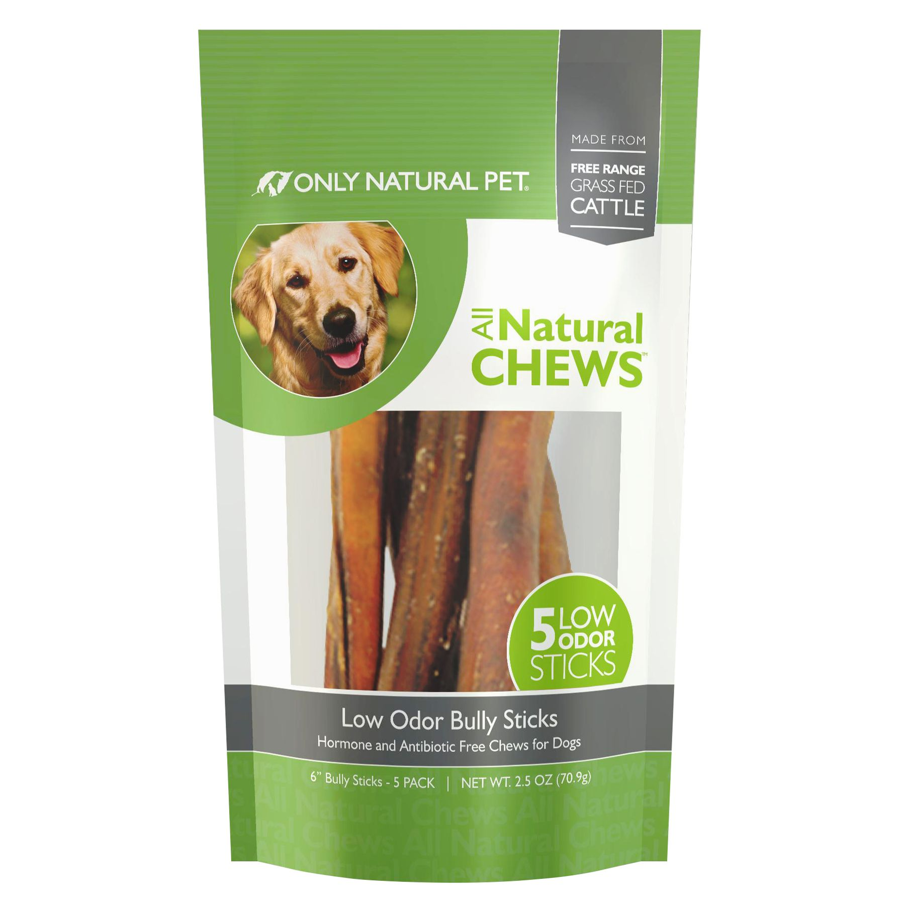 "Only Natural Pet Low Odor 6"" Bully Stick Dog Treat size: 5 Count, Beef, Chews, Adult, Beef Pizzle 5238933"