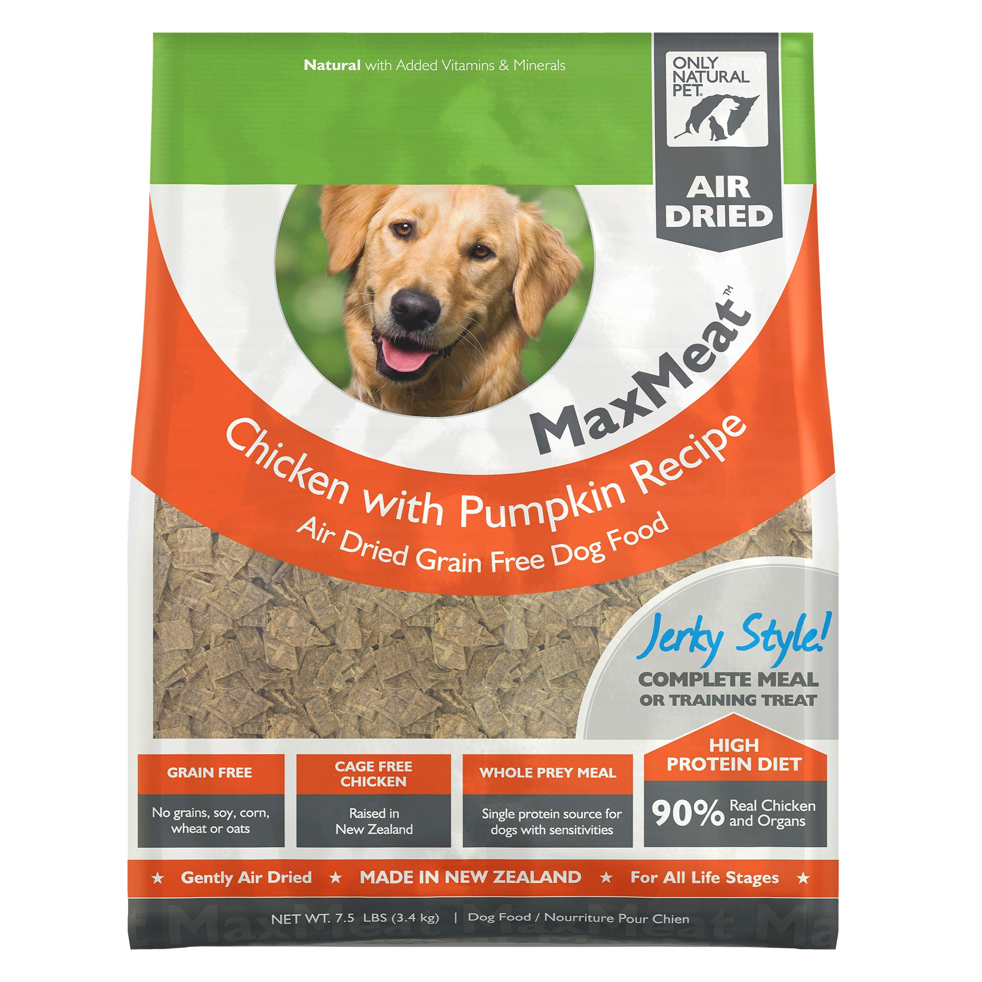 Only Natural Pet MaxMeat Dog Food - Grain Free, Air Dried, Chicken size: 7.5 Lb, Chicken with Pumpkin & Parsley, Soft Jerky-Style Morsel, All Life Stages 5239107
