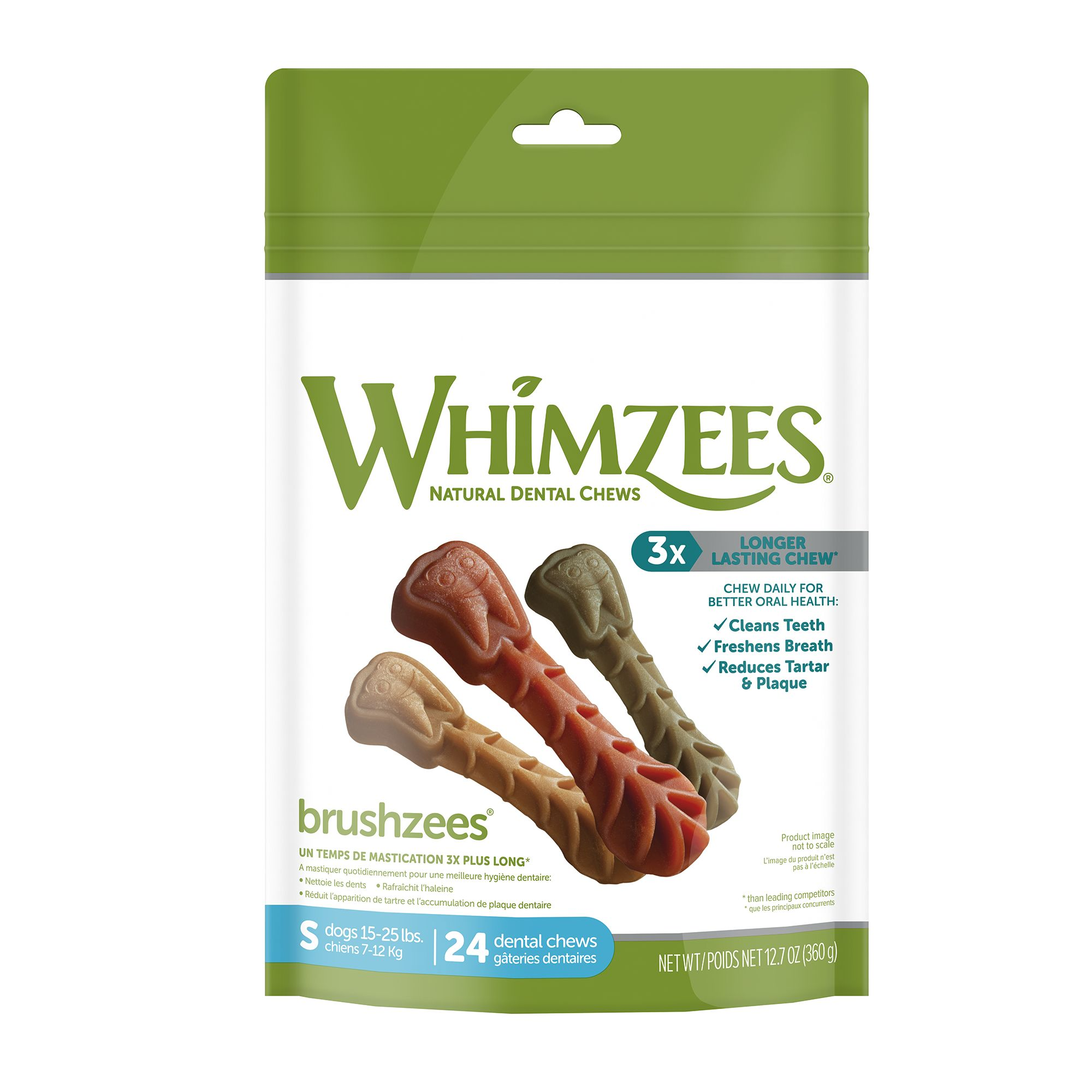 Whimzees Dental Care Toothbrush Small Dog Treat Natural Gluten Free Vegetarian Size 27 Count