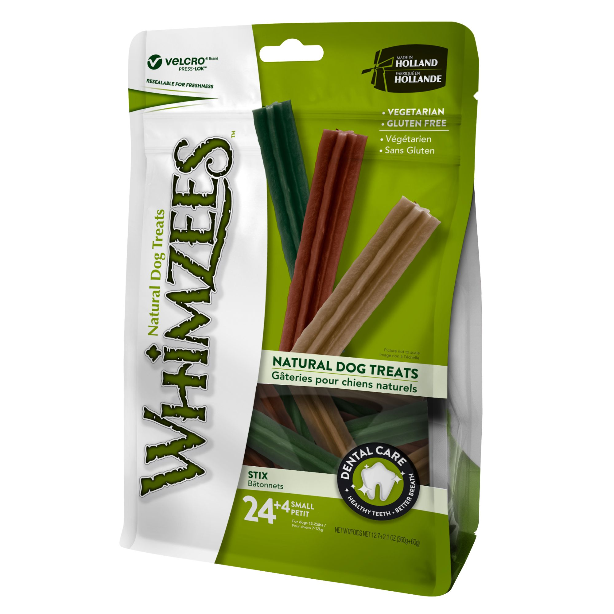 Whimzees Dental Care Sticks Small Dog Treat Natural Gluten Free Vegetarian Size 28 Count