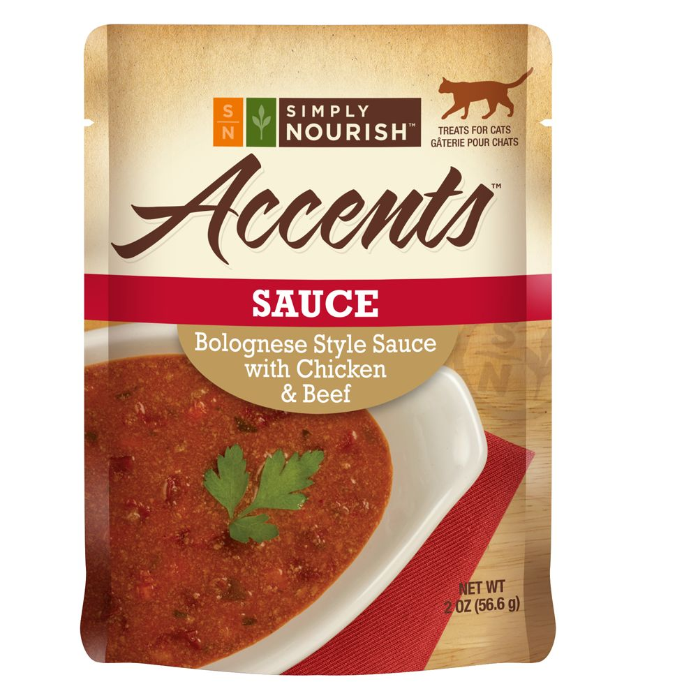 Simply Nourish, Accents Adult Cat Food - Sauce, Bolognese with Chicken and Beef size: 2 Oz 5240331