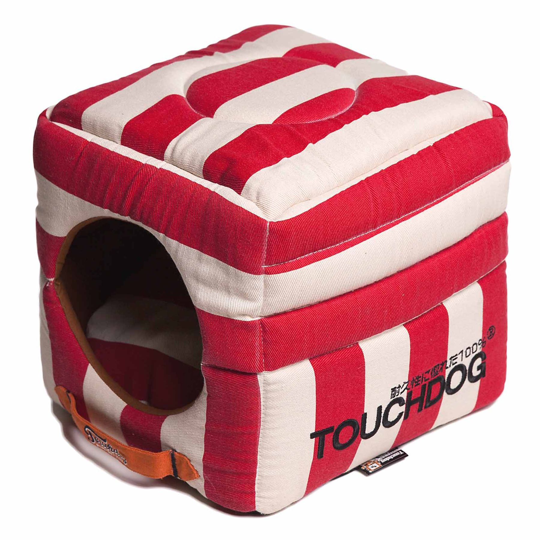 Pet Life Touchdog Polo Stripe Convertible Dog Bed, Red 5246012