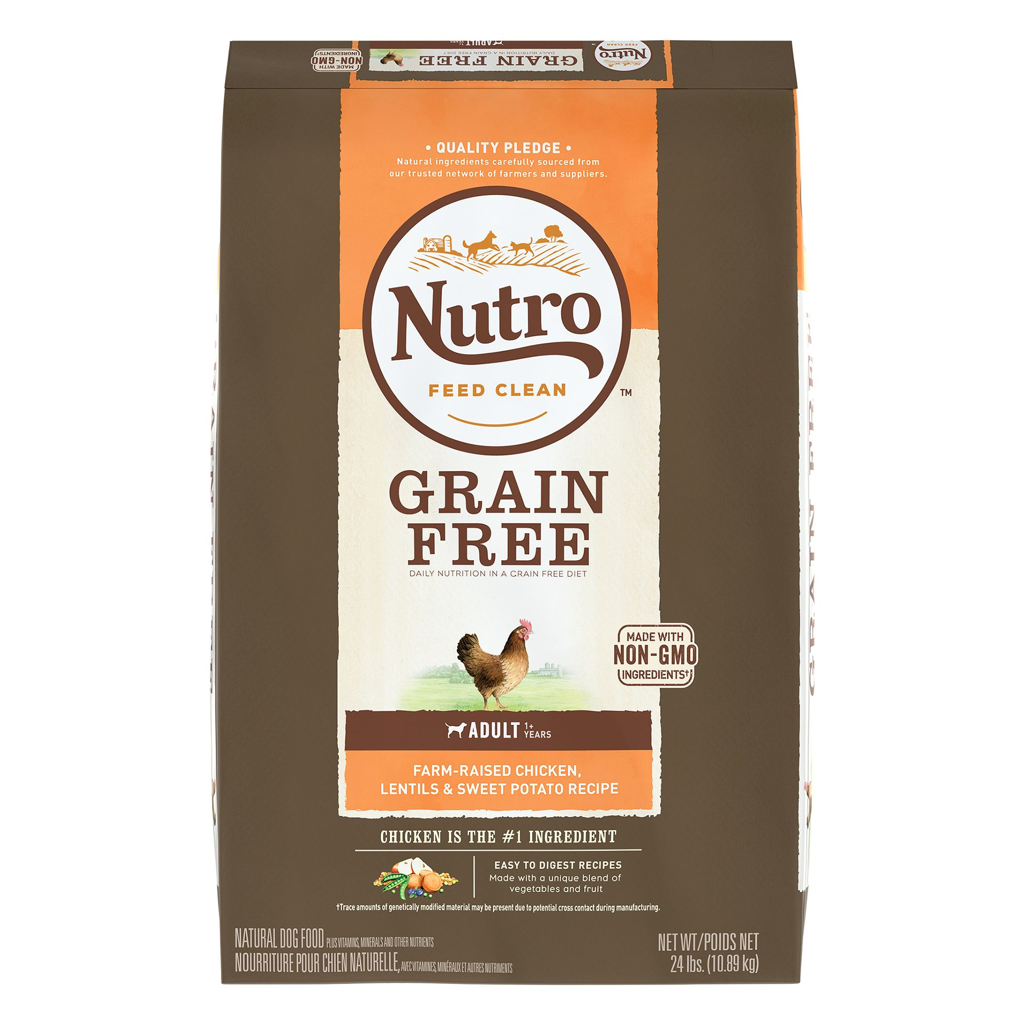 Nutro Grain Free Adult Dog Food - Natural, Non-GMO, Chicken, Lentils and Sweet Potato size: 24 Lb, Kibble 5246488