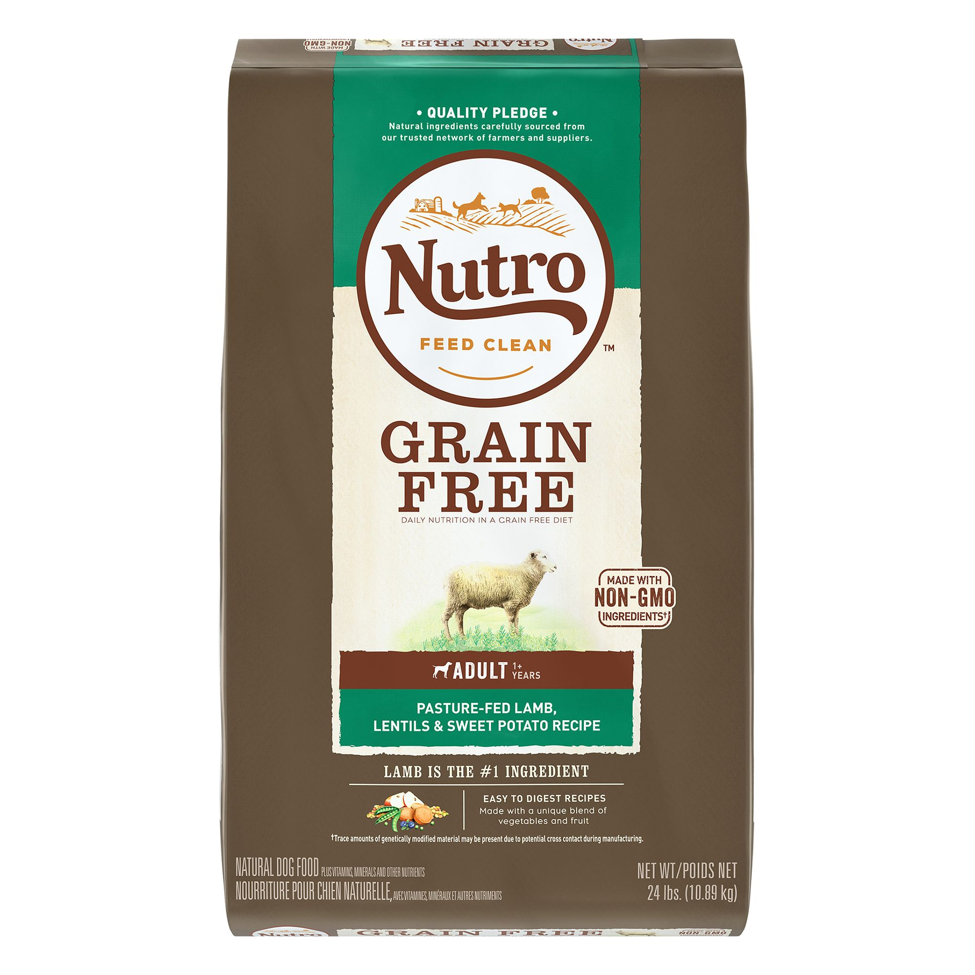 Nutro Grain Free Adult Dog Food - Natural, Non-GMO, Lamb, Lentils and Sweet Potato size: 24 Lb, Kibble, (1-7 years) 5246492