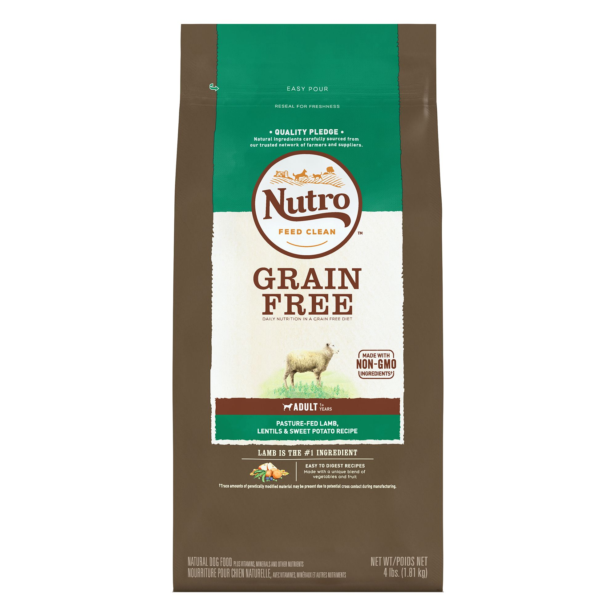 Nutro Grain Free Adult Dog Food - Natural, Non-GMO, Lamb, Lentils and Sweet Potato size: 4 Lb, Kibble, (1-7 years) 5246493