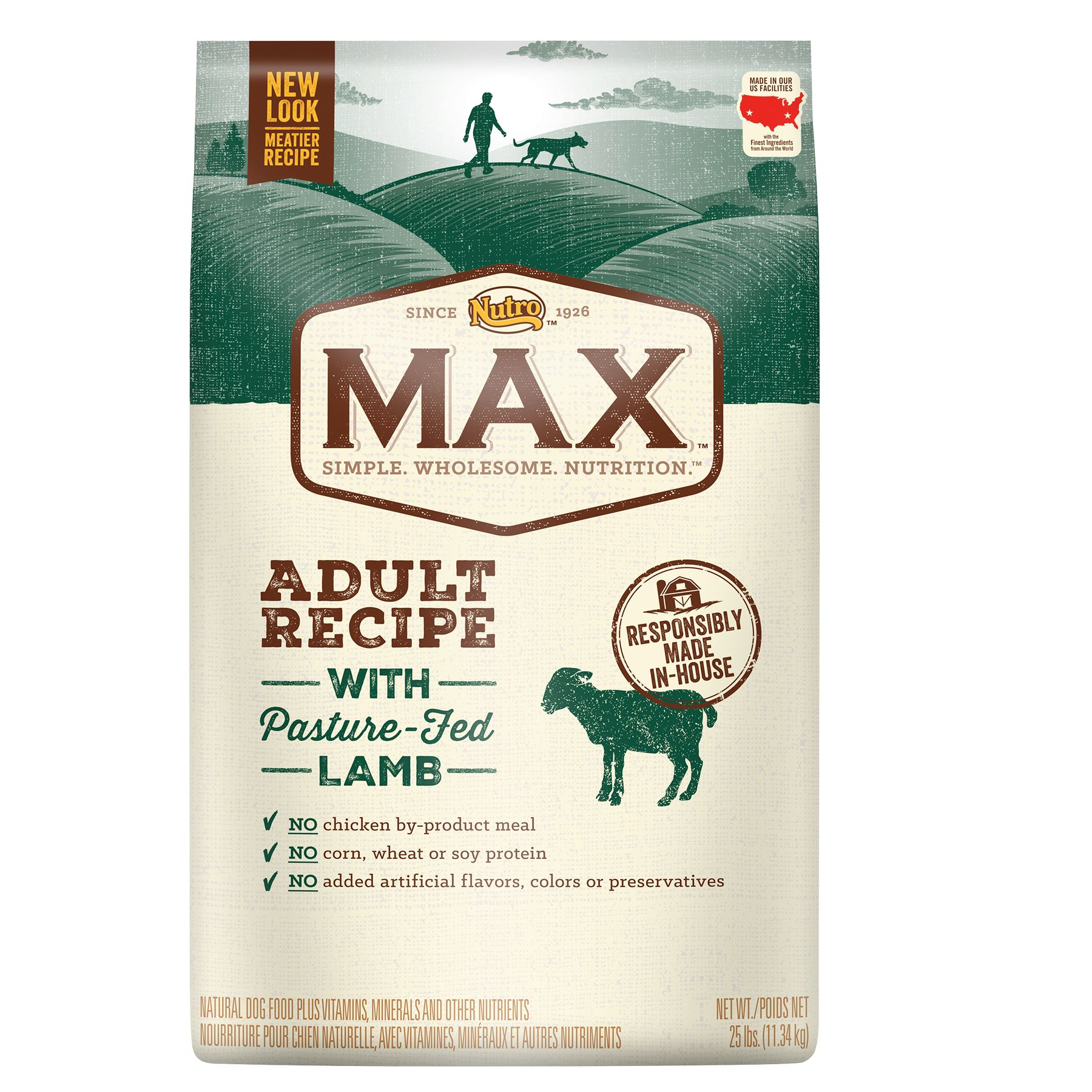 Nutro Max Adult Dog Food Natural Lamb Size 25 Lb