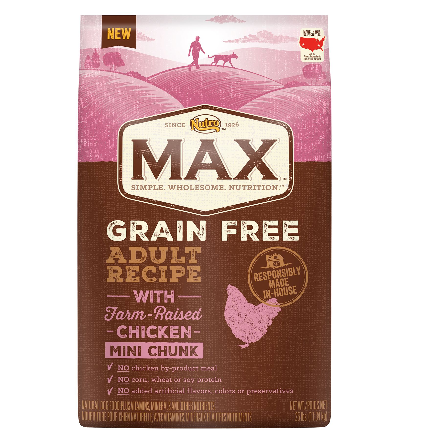 Nutro Max Grain Free Adult Dog Food Natural Chicken Mini Chunk Size 25 Lb