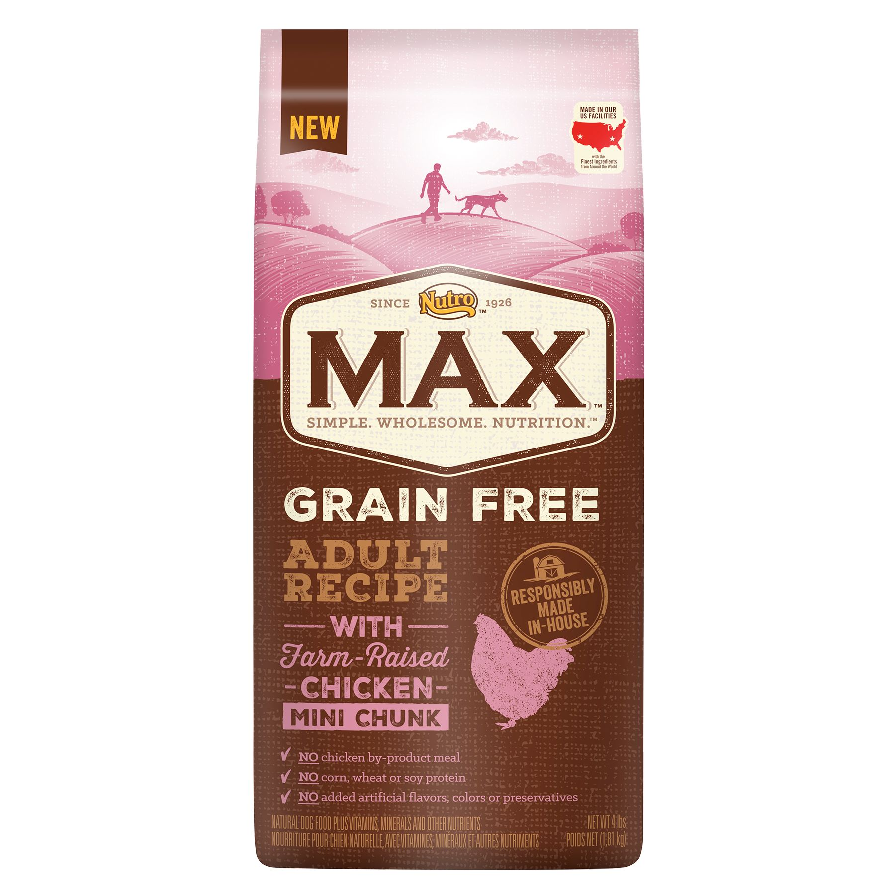 Nutro Max Grain Free Adult Dog Food Natural Chicken Mini Chunk Size 4 Lb