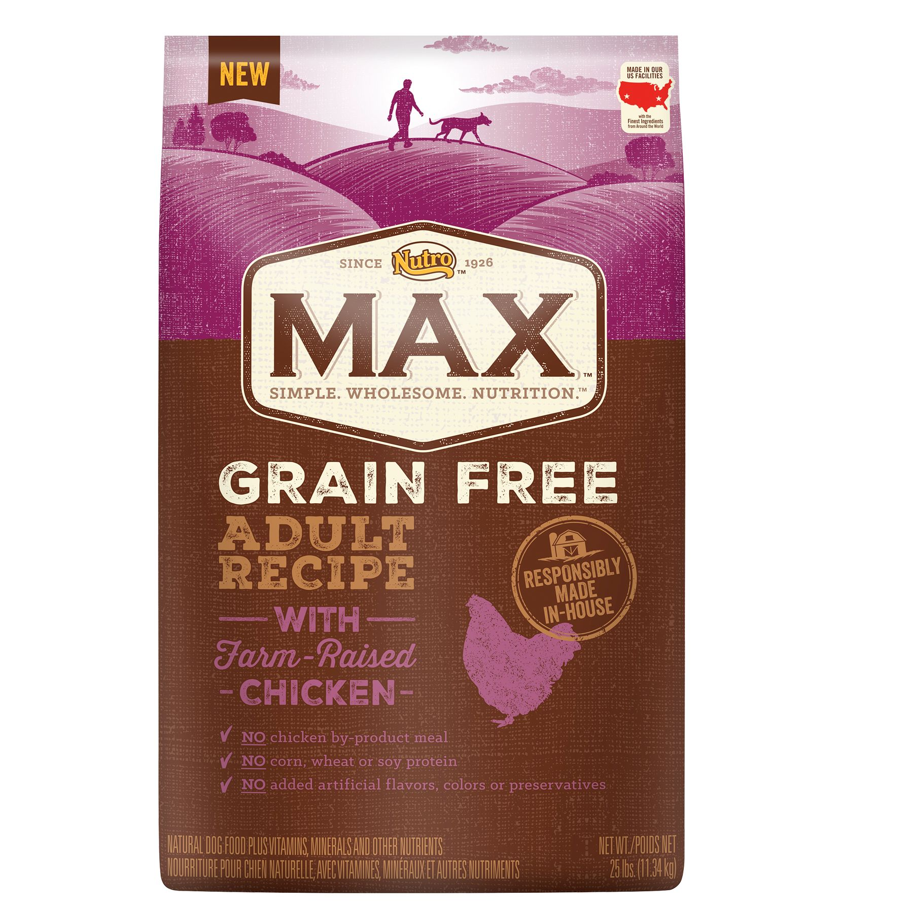 Nutro Max Grain Free Adult Dog Food Natural Chicken Size 25 Lb Kibble Chicken Meal