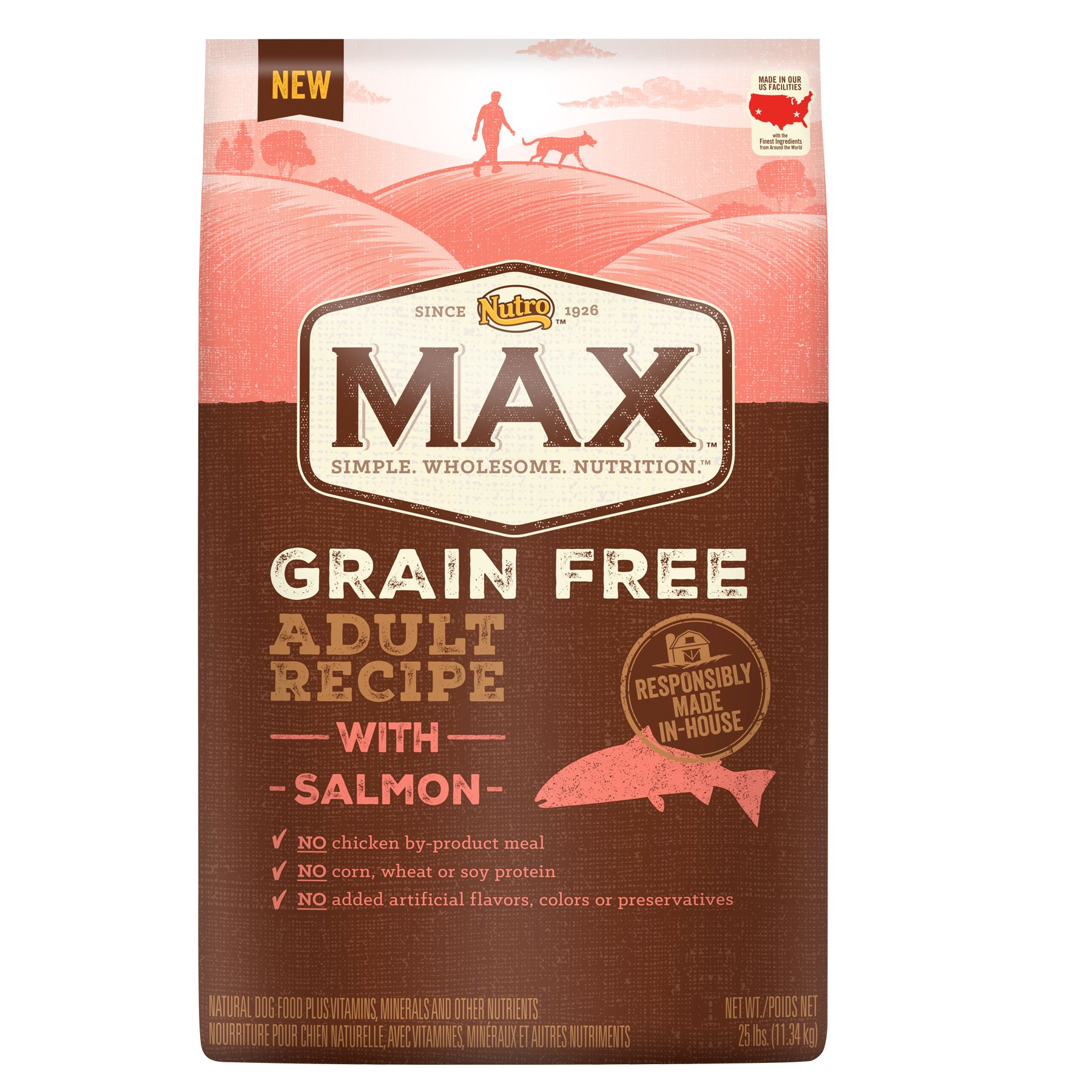 Nutro Max Grain Free Adult Dog Food - Natural, Salmon size: 25 Lb, Kibble, Chicken Meal 5246560