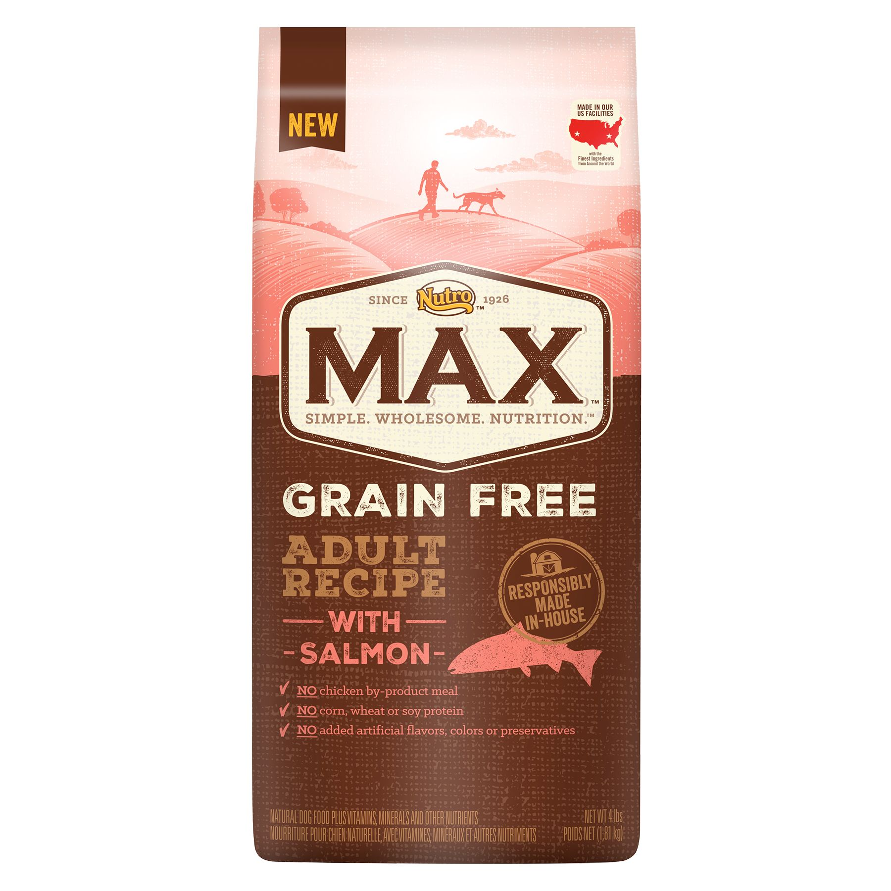 Nutro Max Grain Free Adult Dog Food - Natural, Salmon size: 4 Lb, Kibble, Chicken Meal 5246561
