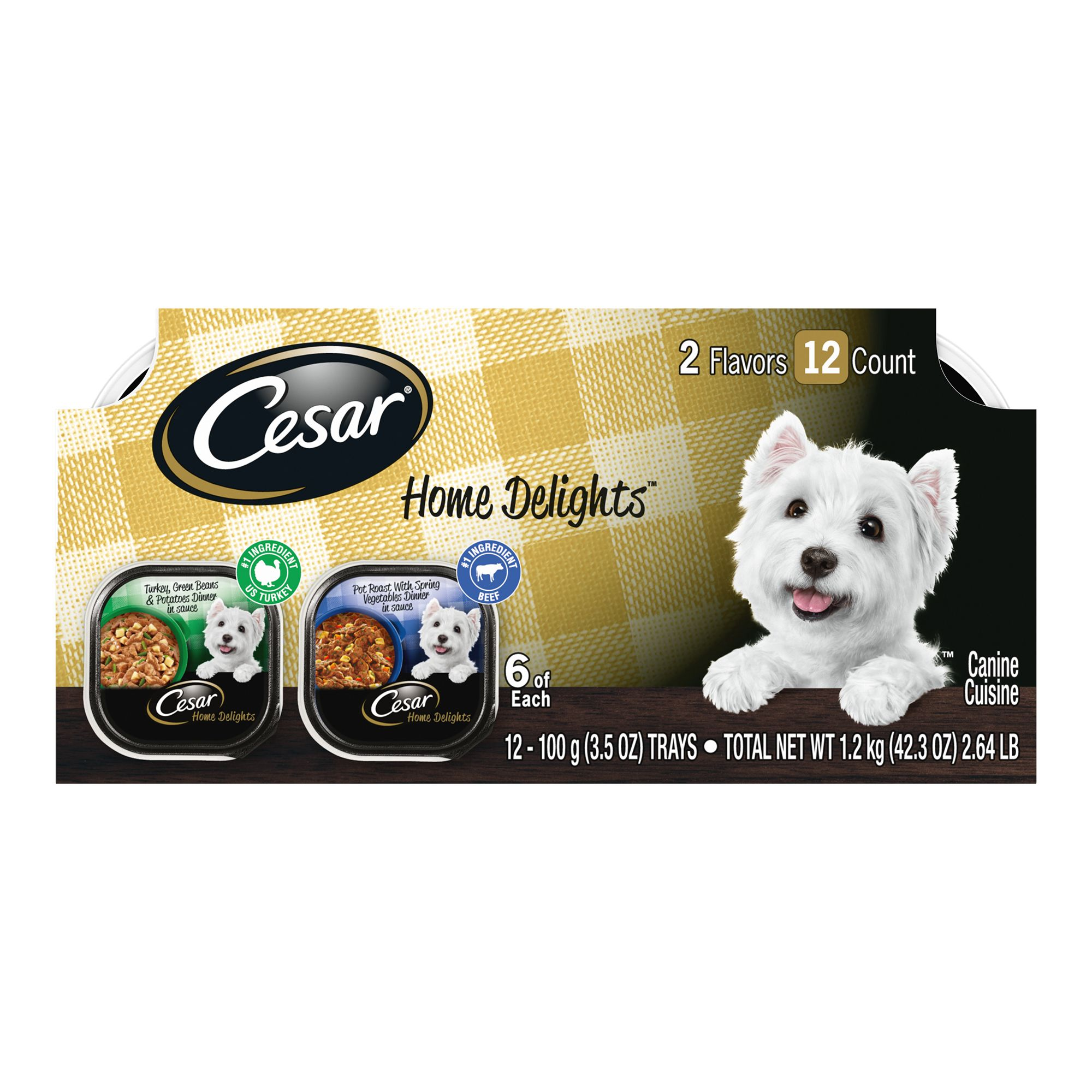 Cesar Home Delights Adult Dog Food Turkey And Pot Roast Variety Pack 12ct Size 3.5 Oz