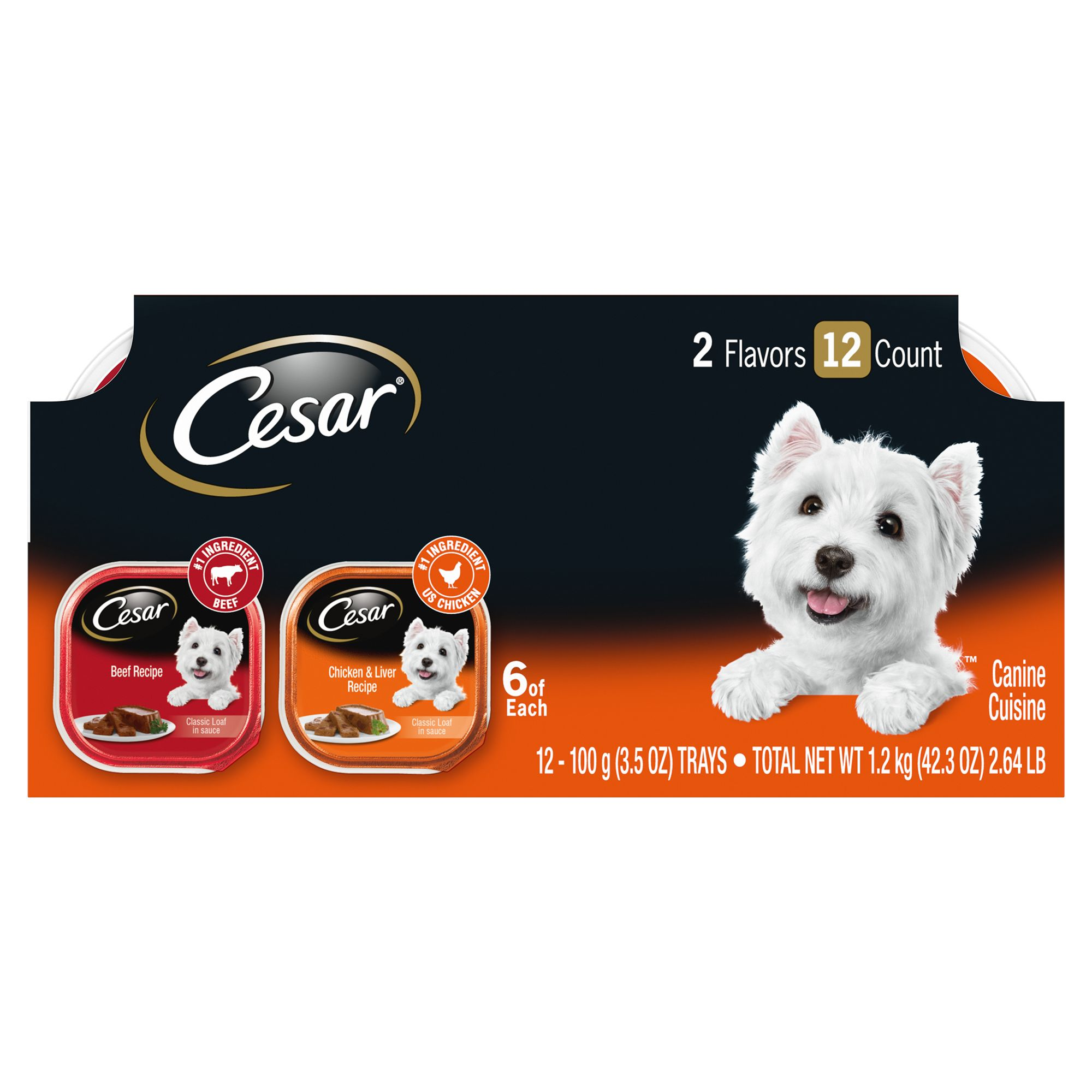 Cesar Classics Adult Dog Food Beef And Chicken Variety Pack 12ct Size 3.5 Oz