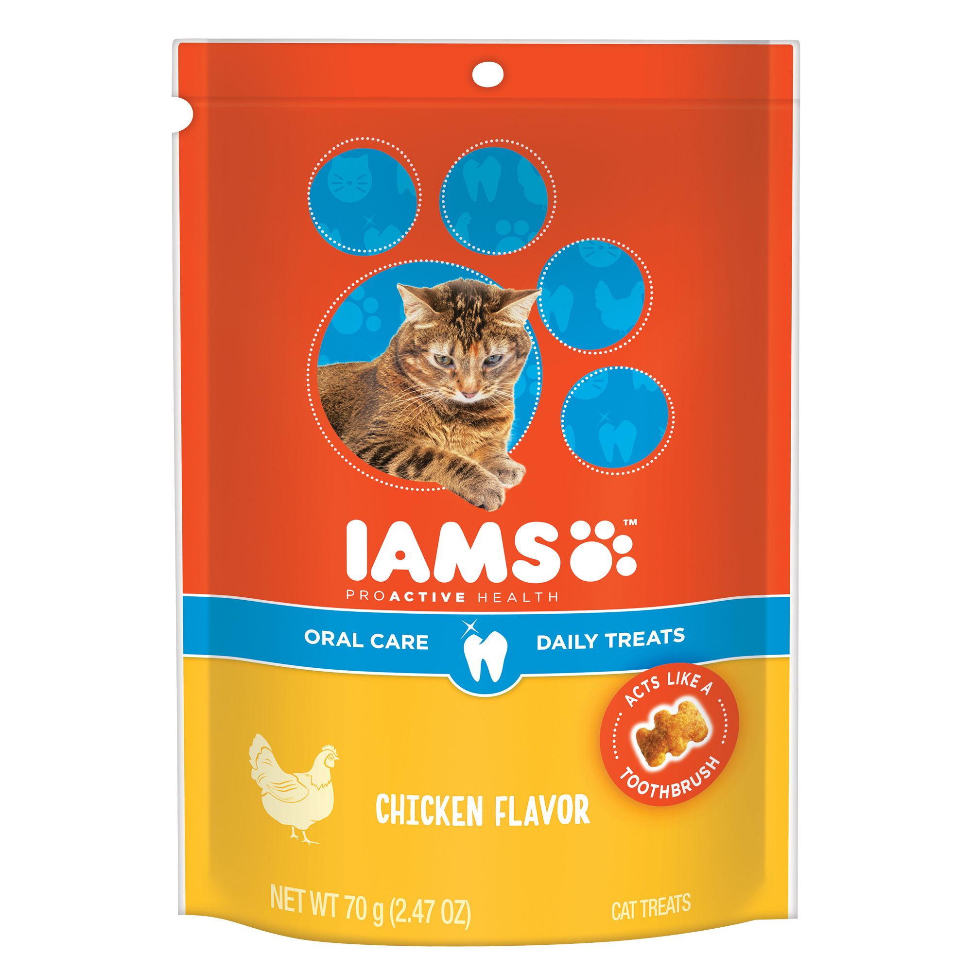 Iams Proactive Health Dental Cat Treat Chicken Size 2.47 Oz