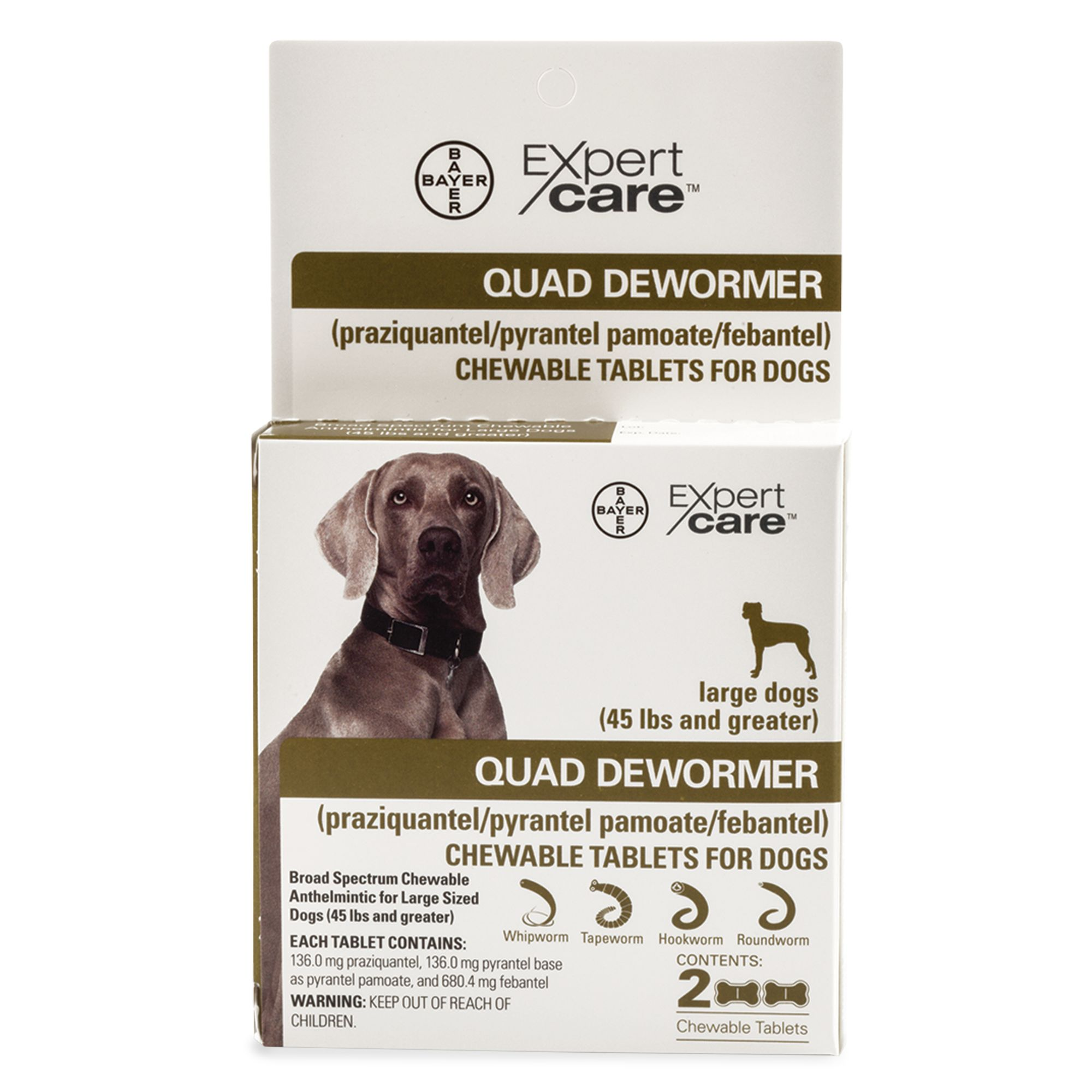 Bayer Expert Care 2 25 Lb Dog Quad Dewormer Size 45 Lb