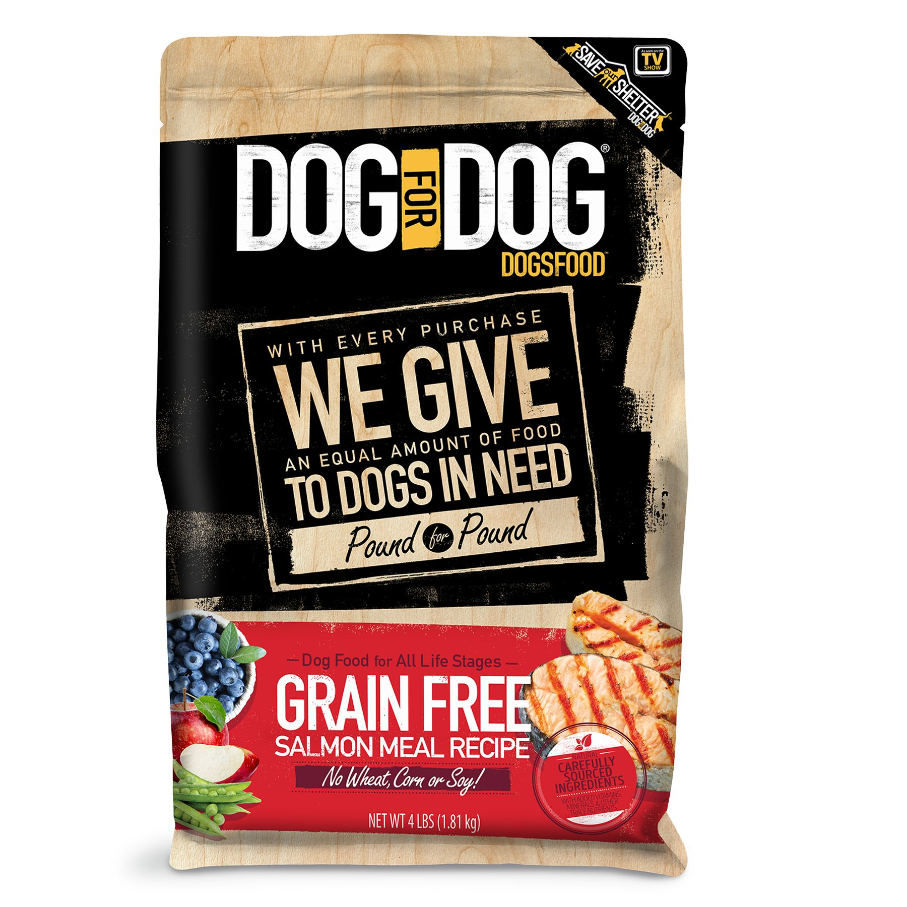 Dog For Dog Dogsfood Grain Free Natural Salmon Meal Size 4 Lb