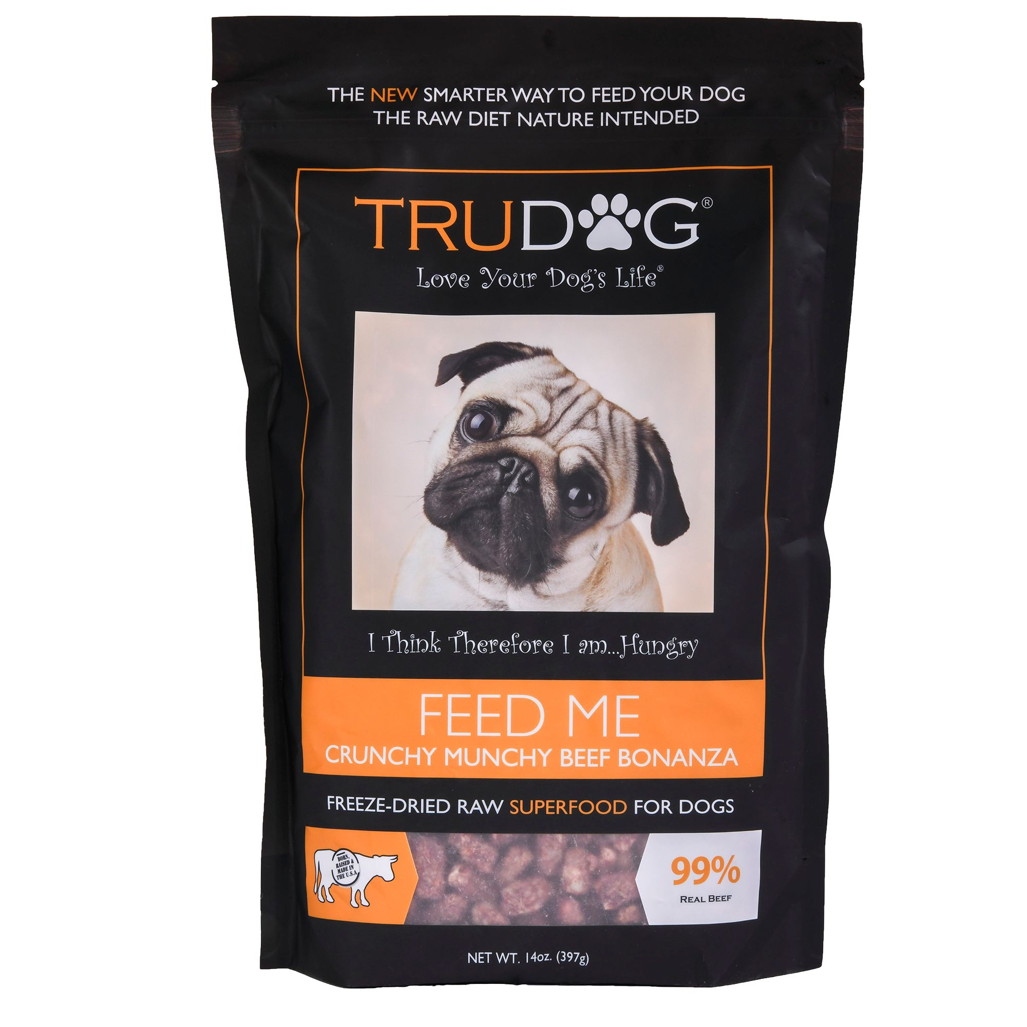 Trudog Feed Me Superfood Dog Food Freeze Dried Raw Natural Crunchy Munchy Beef Bonanza Size 14 Oz