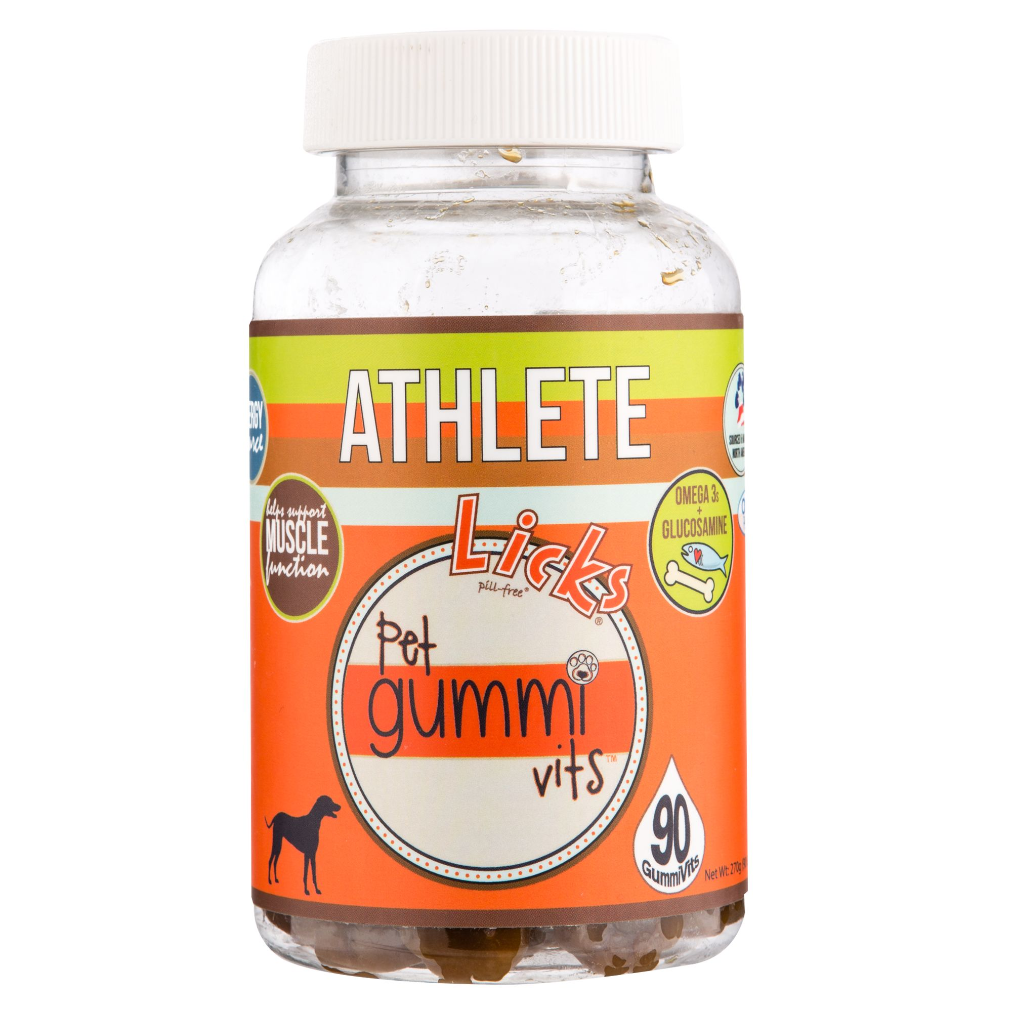 Licks Athlete Pet Gummi Vits Size 90 Count