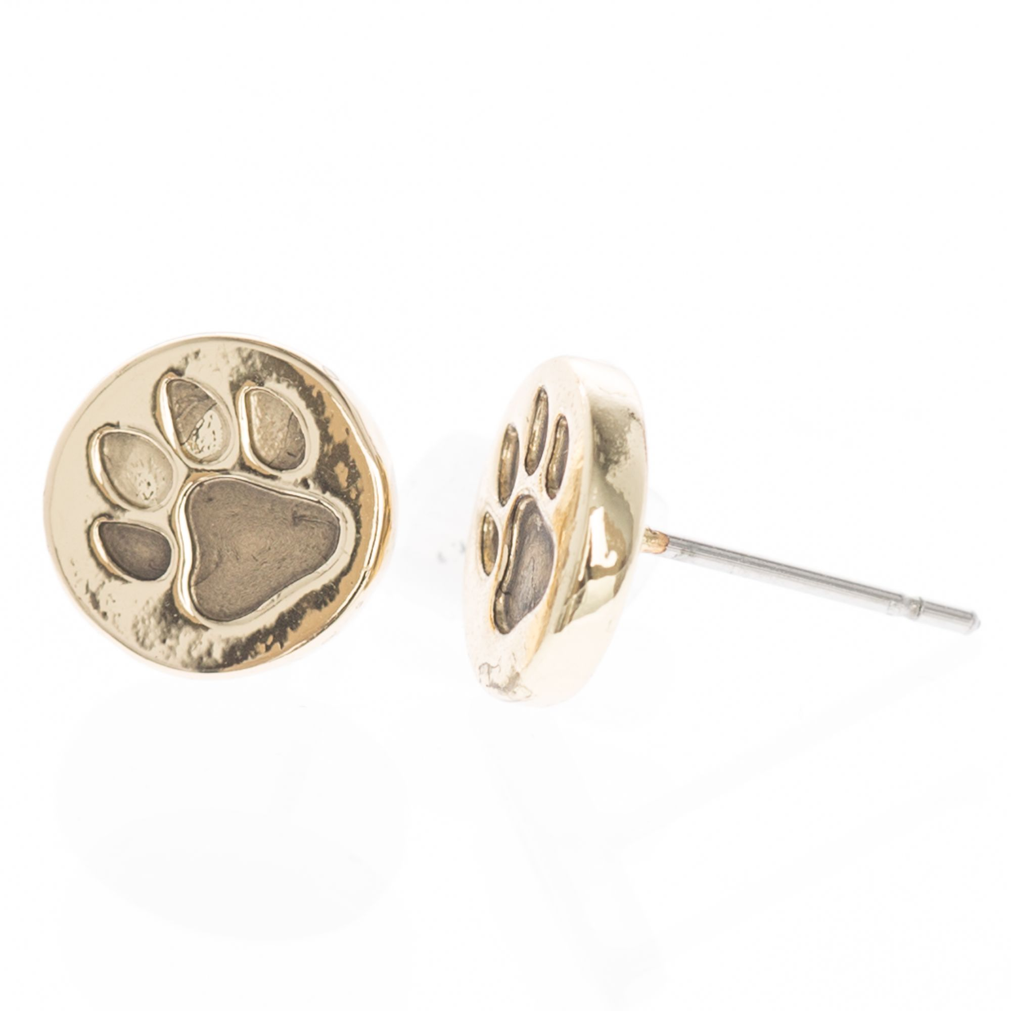 Pet Friends Circle Paw Button Stud Earrings Girls Gold