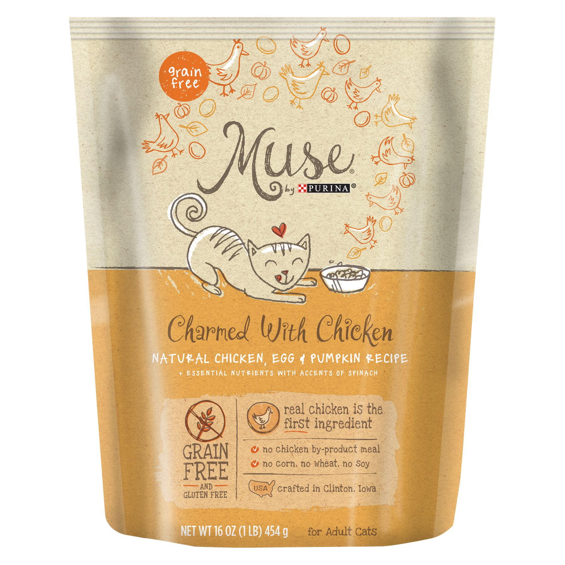 Muse Adult Cat Food Grain Free Gluten Free Essential Nutrients Natural Chicken Egg And Pumpkin Size 1 Lb