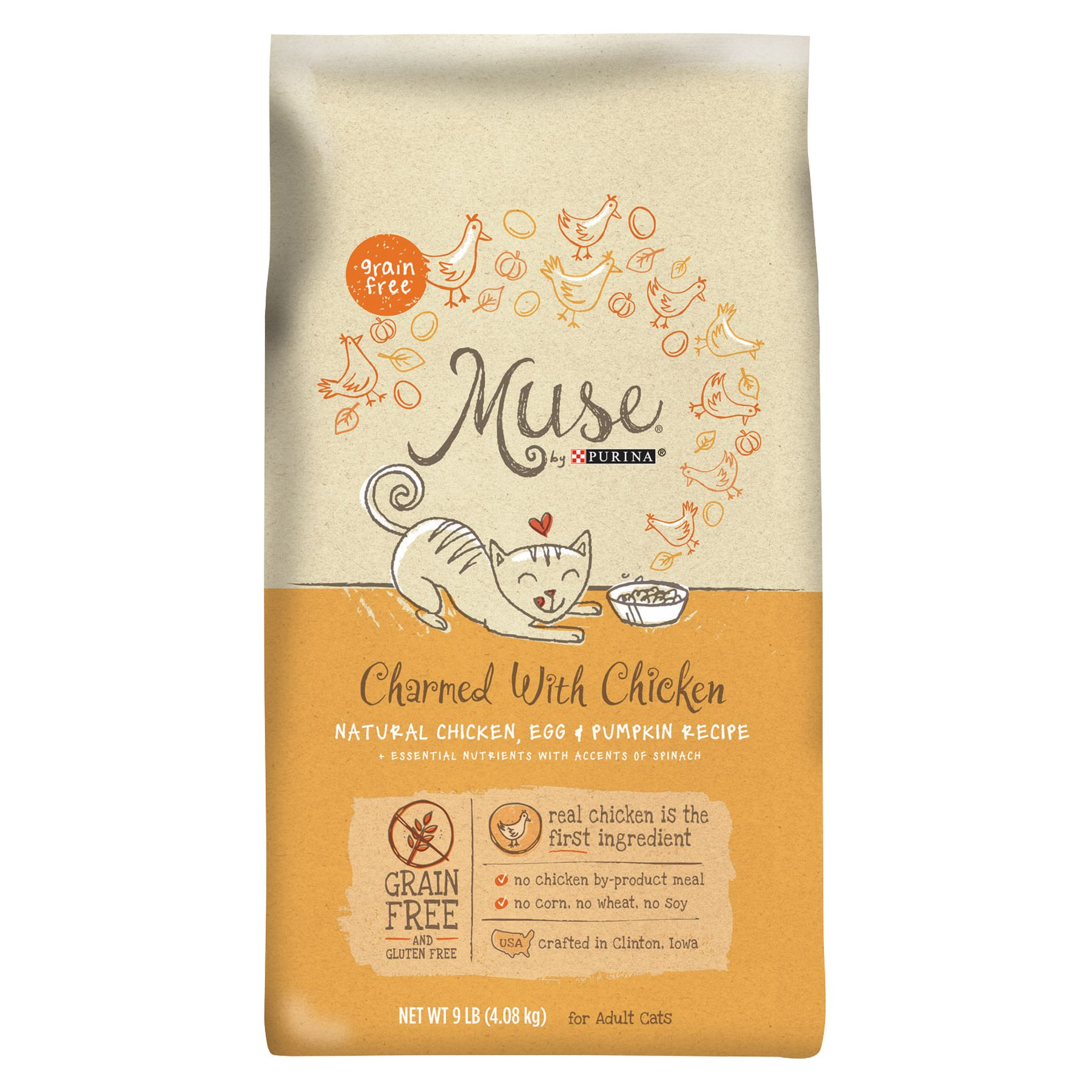 Muse Adult Cat Food Grain Free Gluten Free Essential Nutrients Natural Chicken Egg And Pumpkin Size 9 Lb