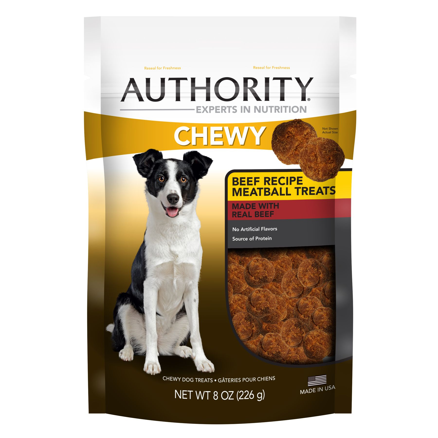 Authority® Chewy Dog Treat - Beef Meatball size: 8 Oz