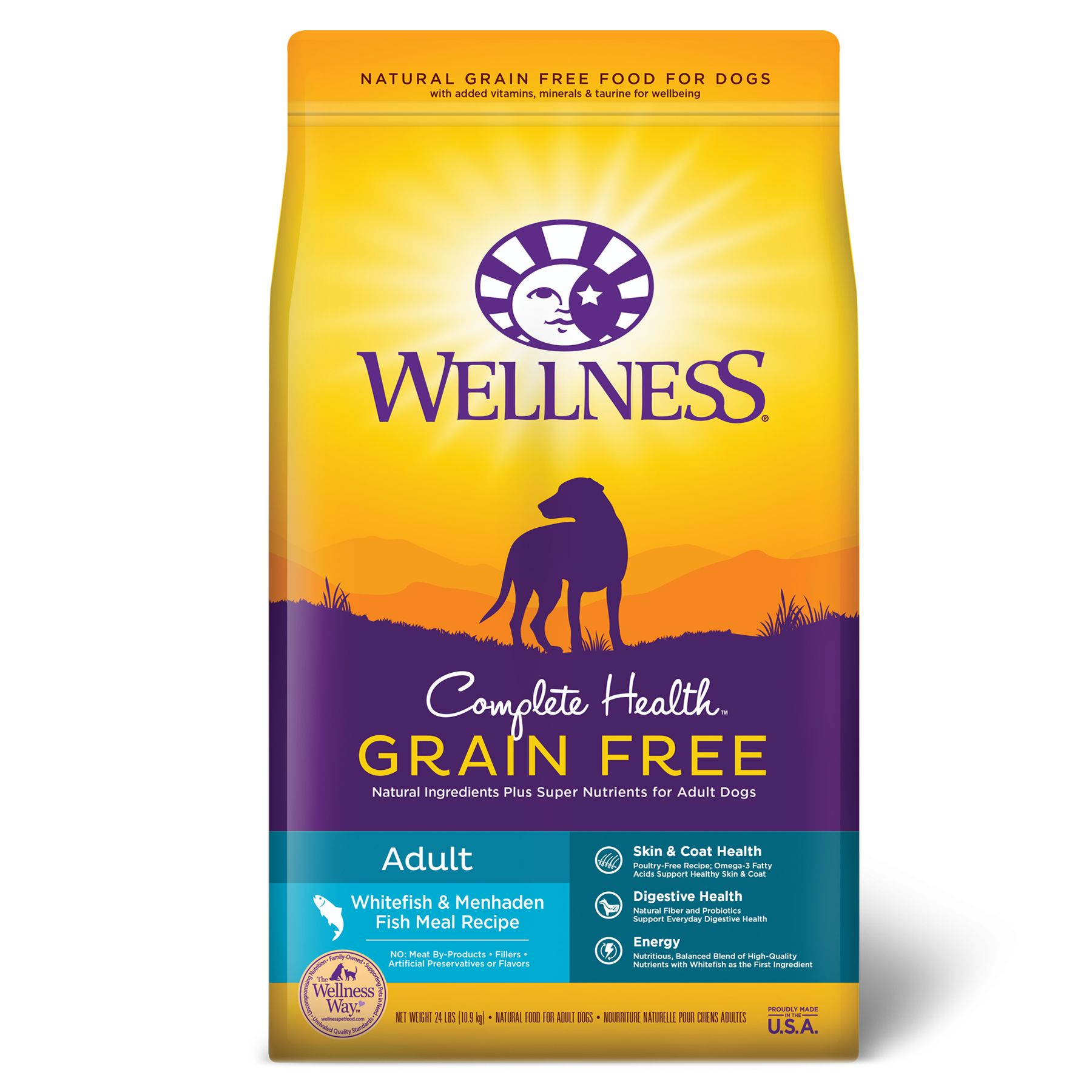 Wellness Complete Health Adult Dog Food - Natural, Grain Free, Whitefish and Menhaden Fish Meal size: 24 Lb 5249045