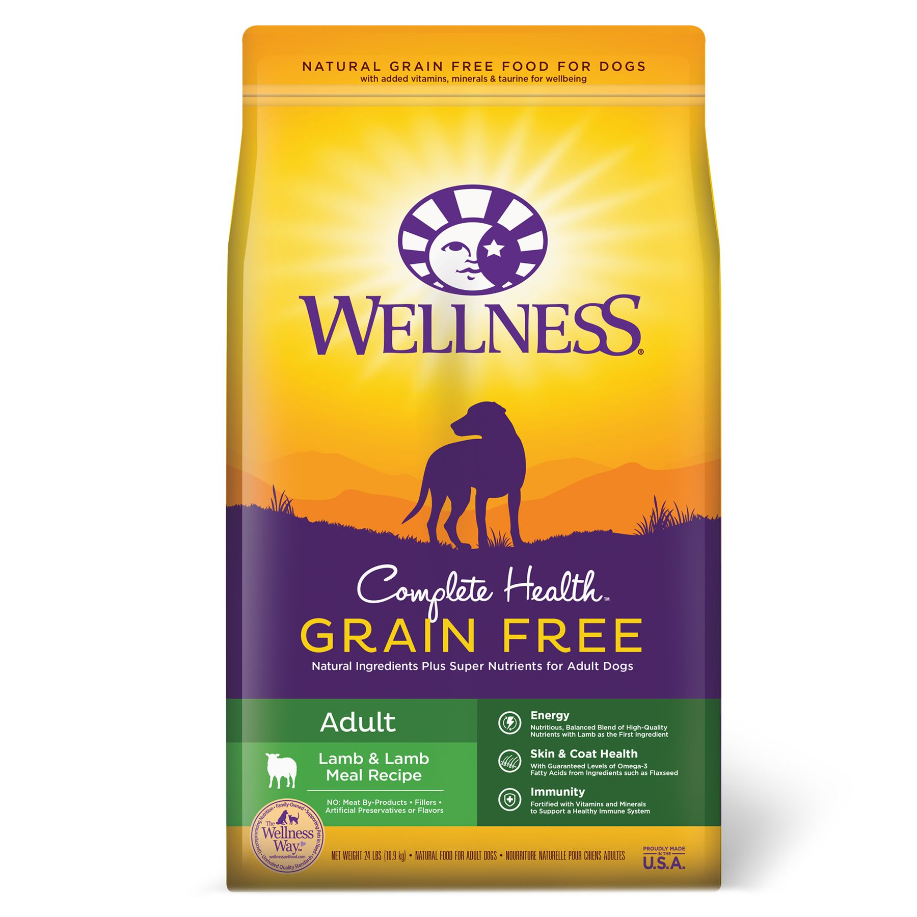 Wellness Complete Health Adult Dog Food - Natural, Grain Free, Lamb and Lamb Meal size: 24 Lb 5249046