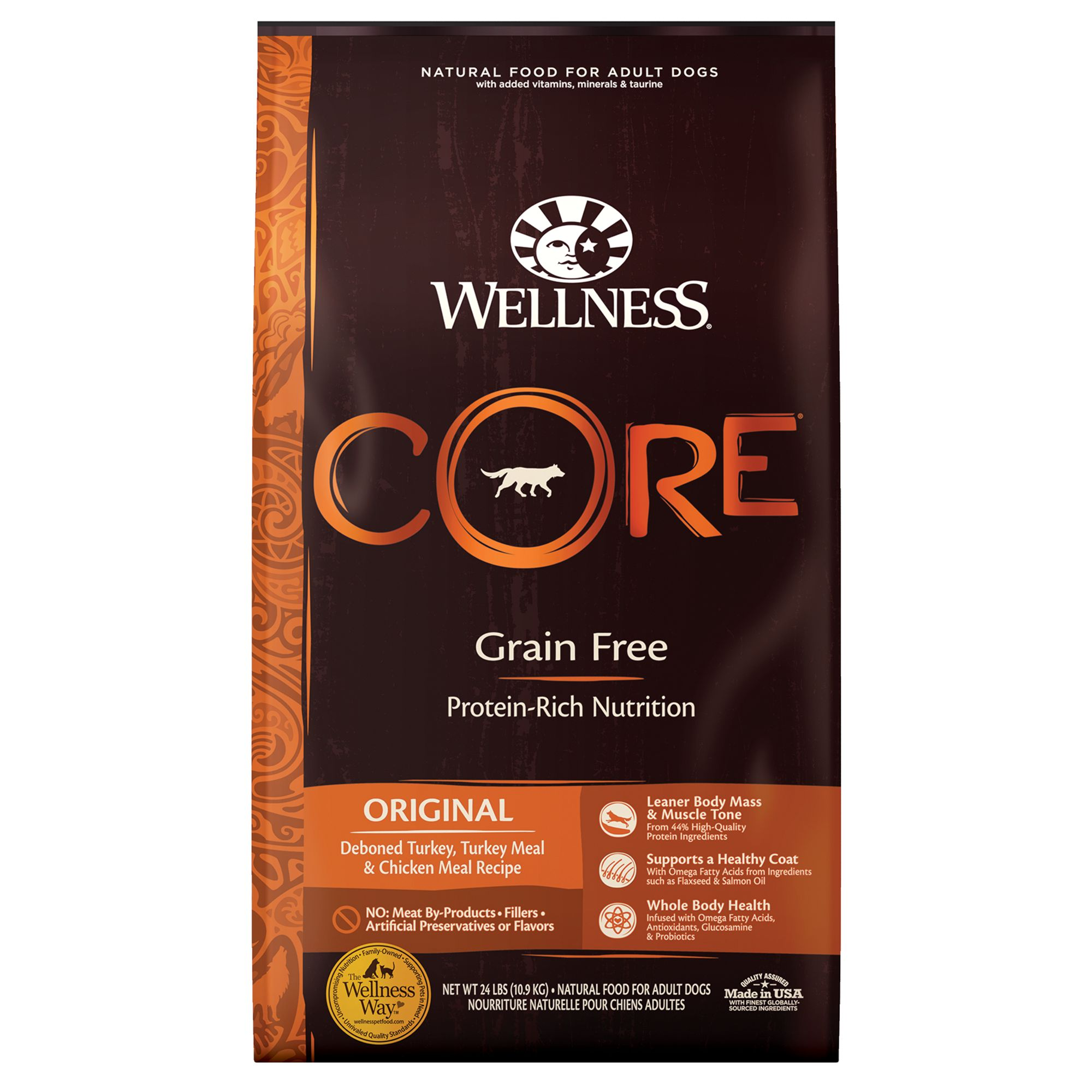 Wellness Core Adult Dog Food - Natural, Grain Free, Original Formula size: 24 Lb, Turkey, Chicken, Kibble 5249049