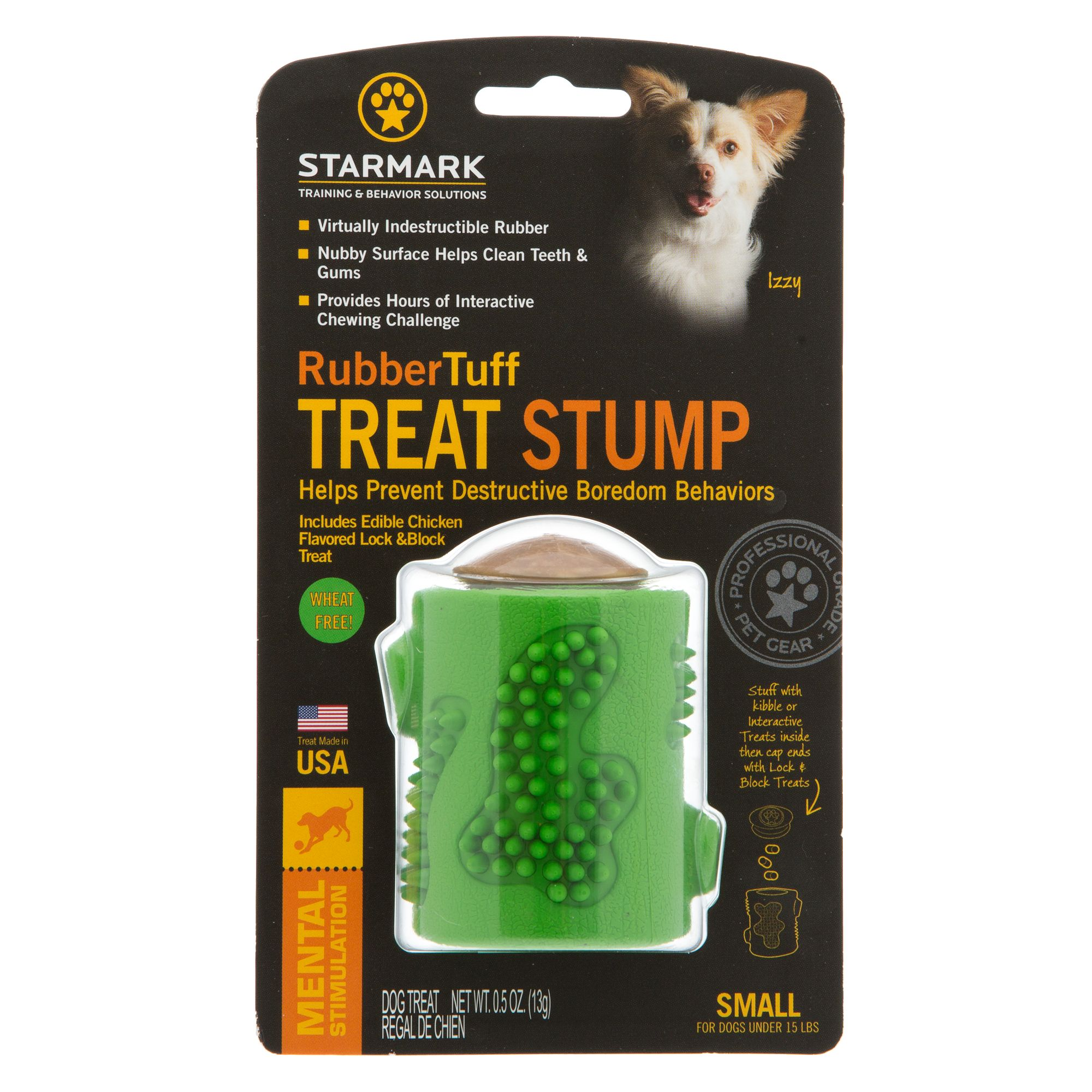 Starmark Rubber Tuff Stump Treat Dog Toy size: Small, Chicken, Crunchy, Small Dogs Under 15 lbs, Rice Flour 5249085
