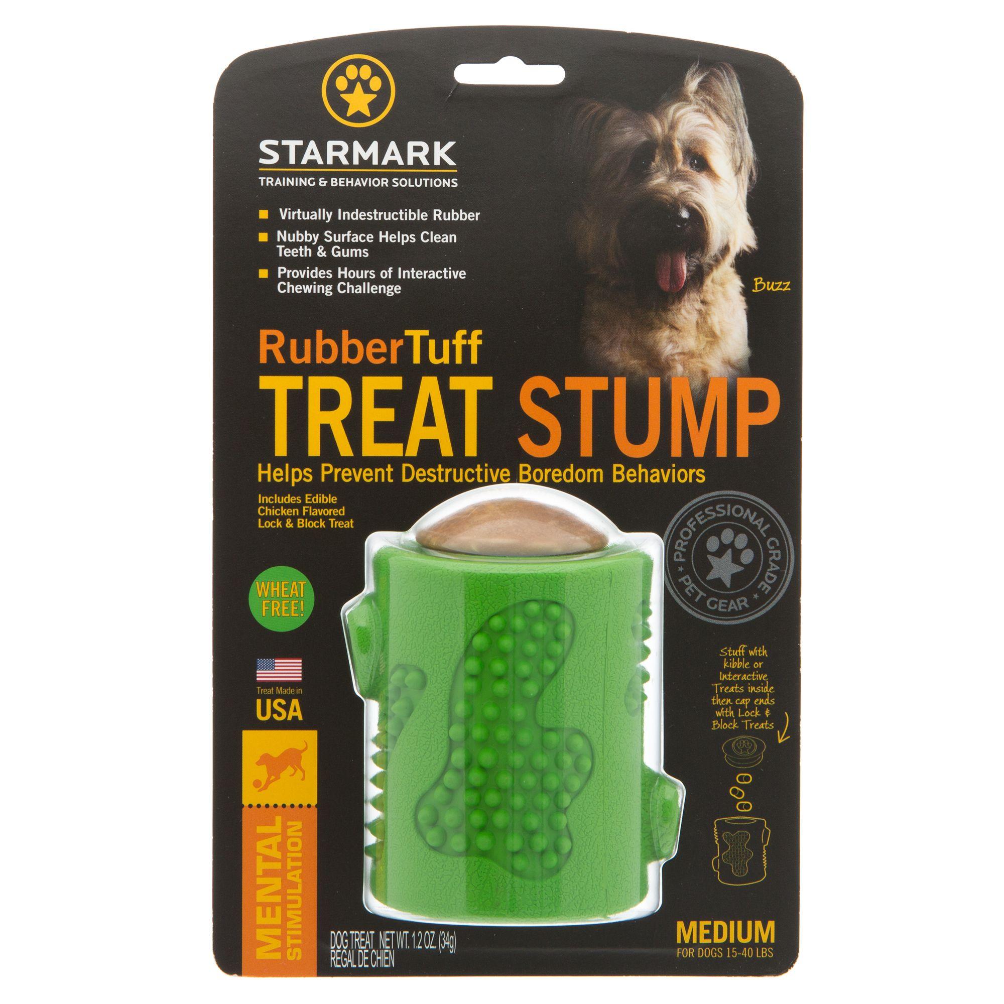 Starmark Rubber Tuff Stump Treat Dog Toy size: Medium, Chicken, Crunchy, Small Dogs Under 15 lbs, Rice Flour 5249086