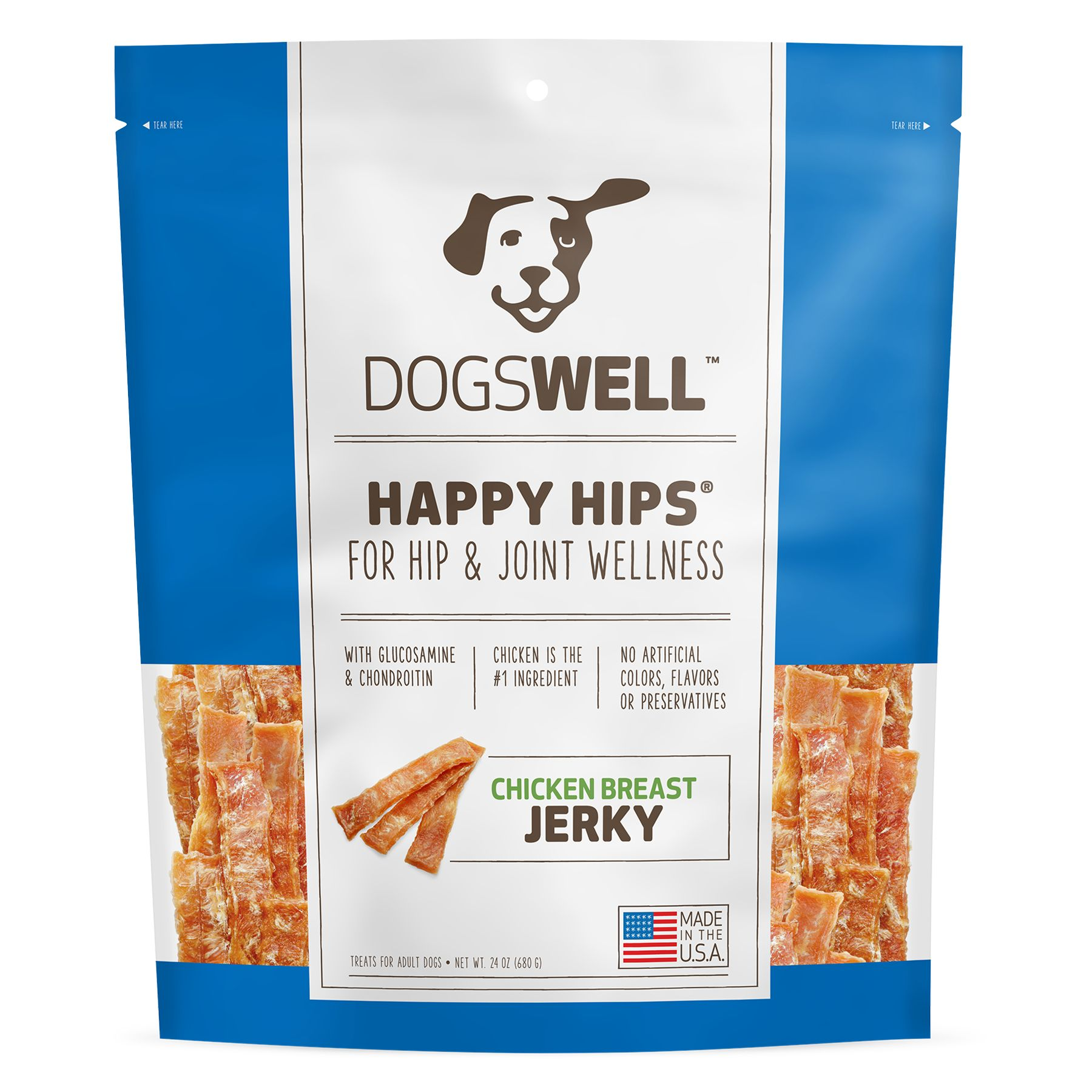 Dogswell Happy Hips Dog Treat Hip And Joint Health Chicken Breast Jerky Size 24 Oz