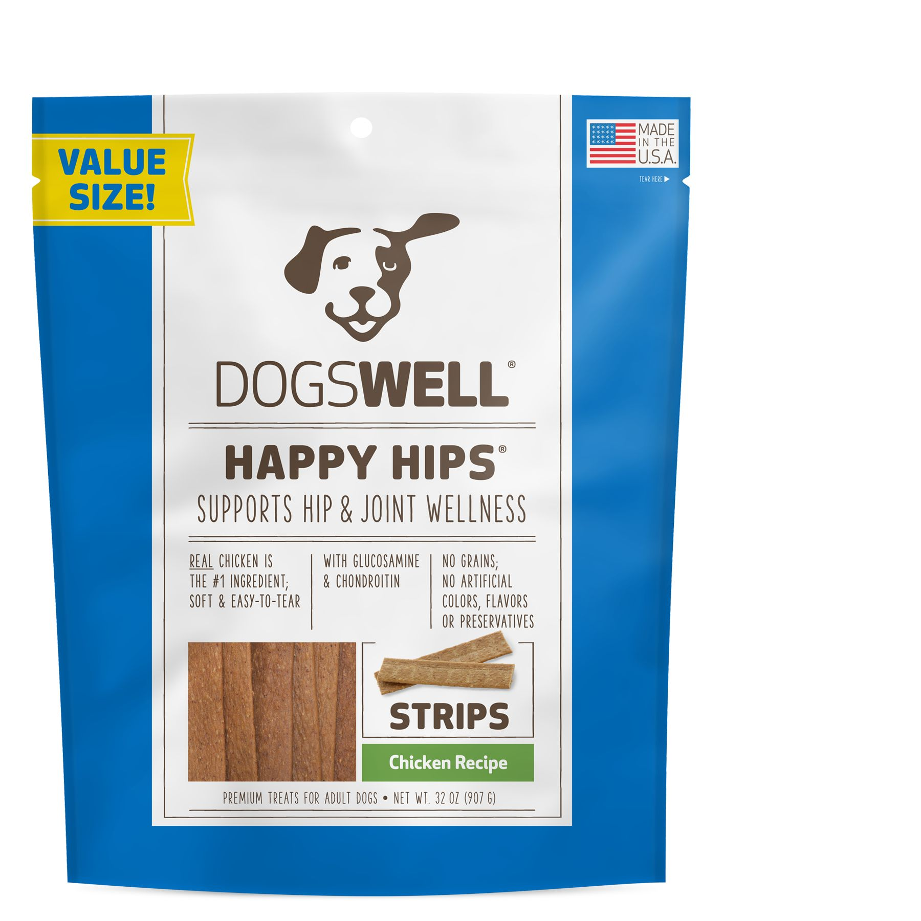 Dogswell Happy Hips Dog Treat Grain Free Hip And Joint Health Chicken Strips Size 32 Oz