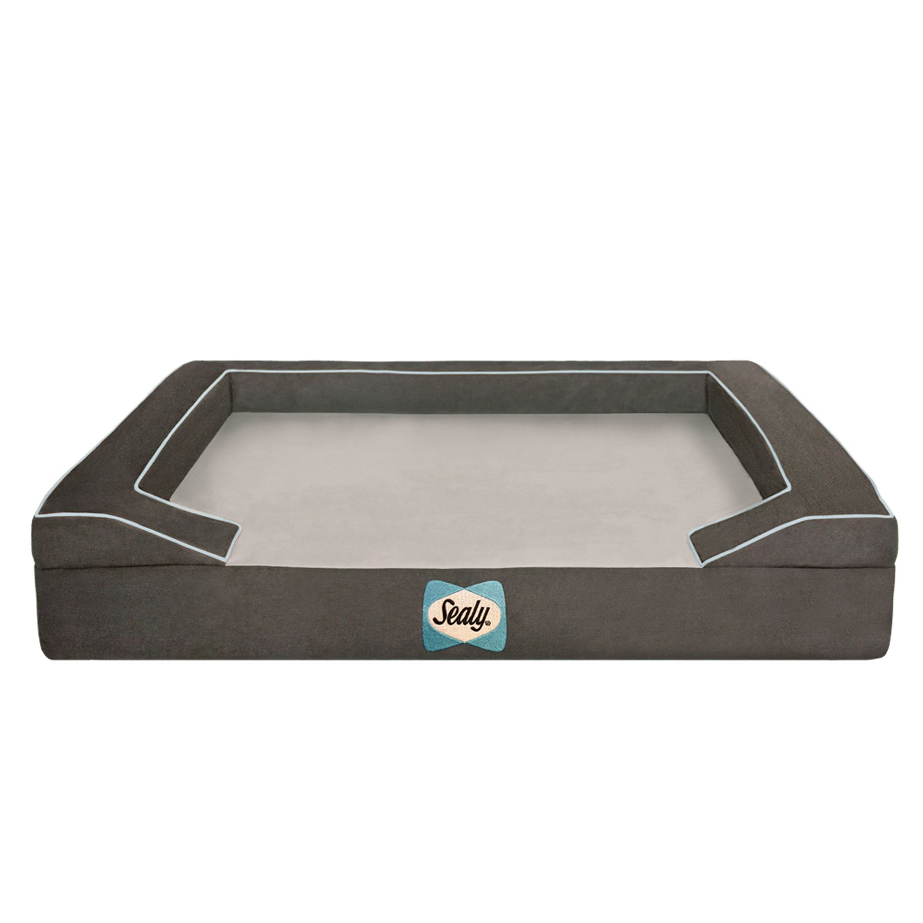Sealy Premium Bolster Dog Bed Size 25l X 20w X 5.5h Modern Gray