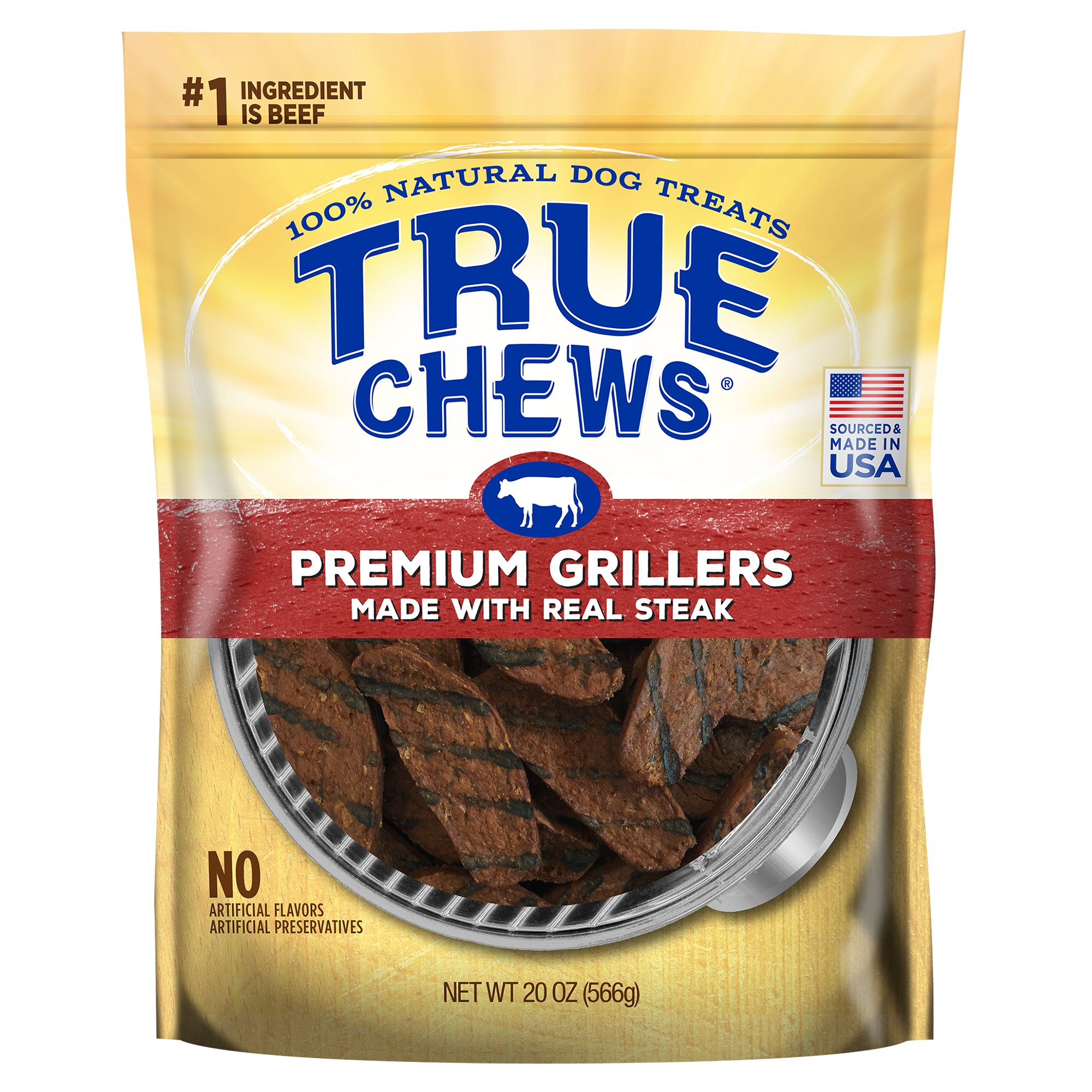 True Chews Premium Grillers Dog Treat Natural Sirloin Steak Size 22 Oz