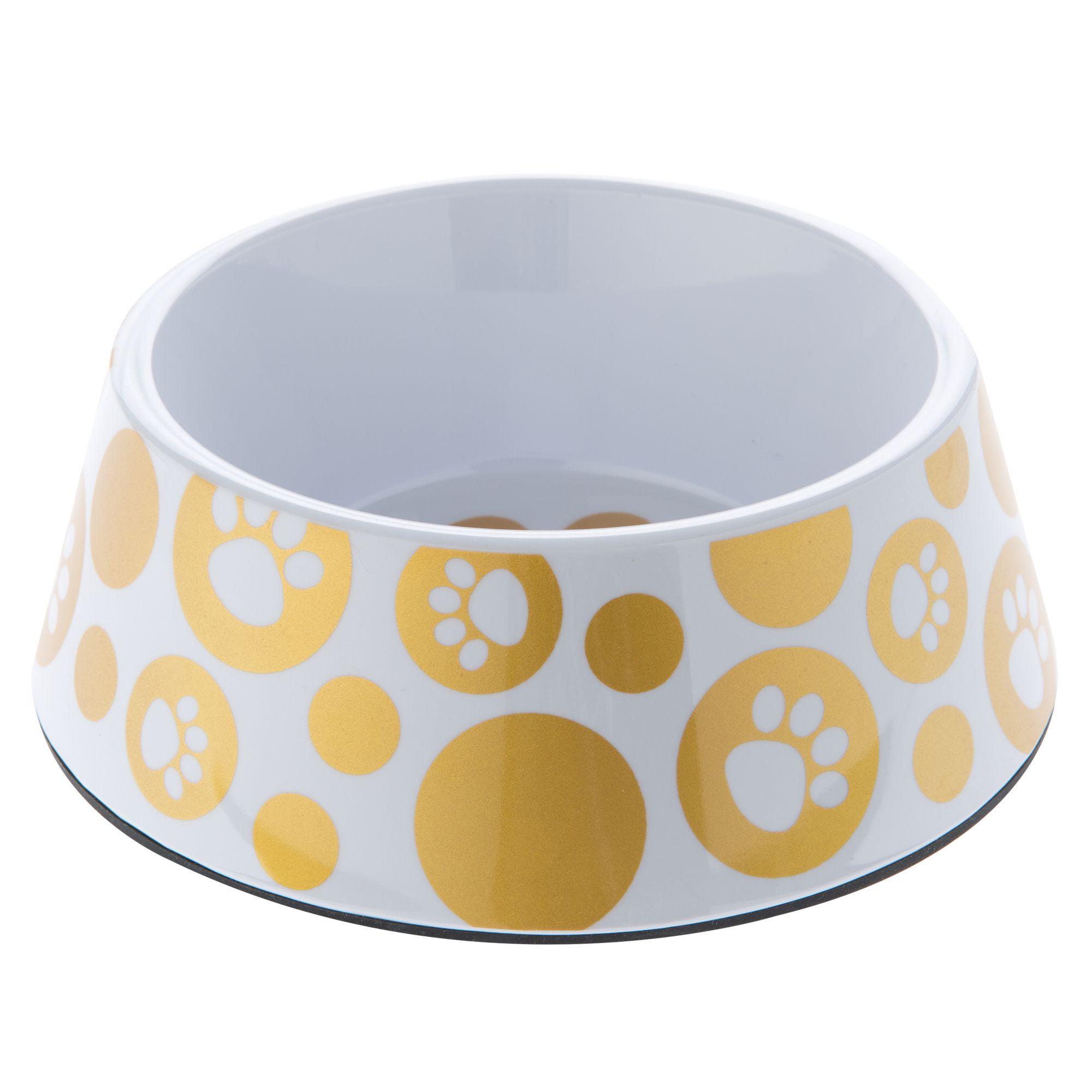 Top Paw Glitz Paws Dog Bowl size: 3 C, White 5250220