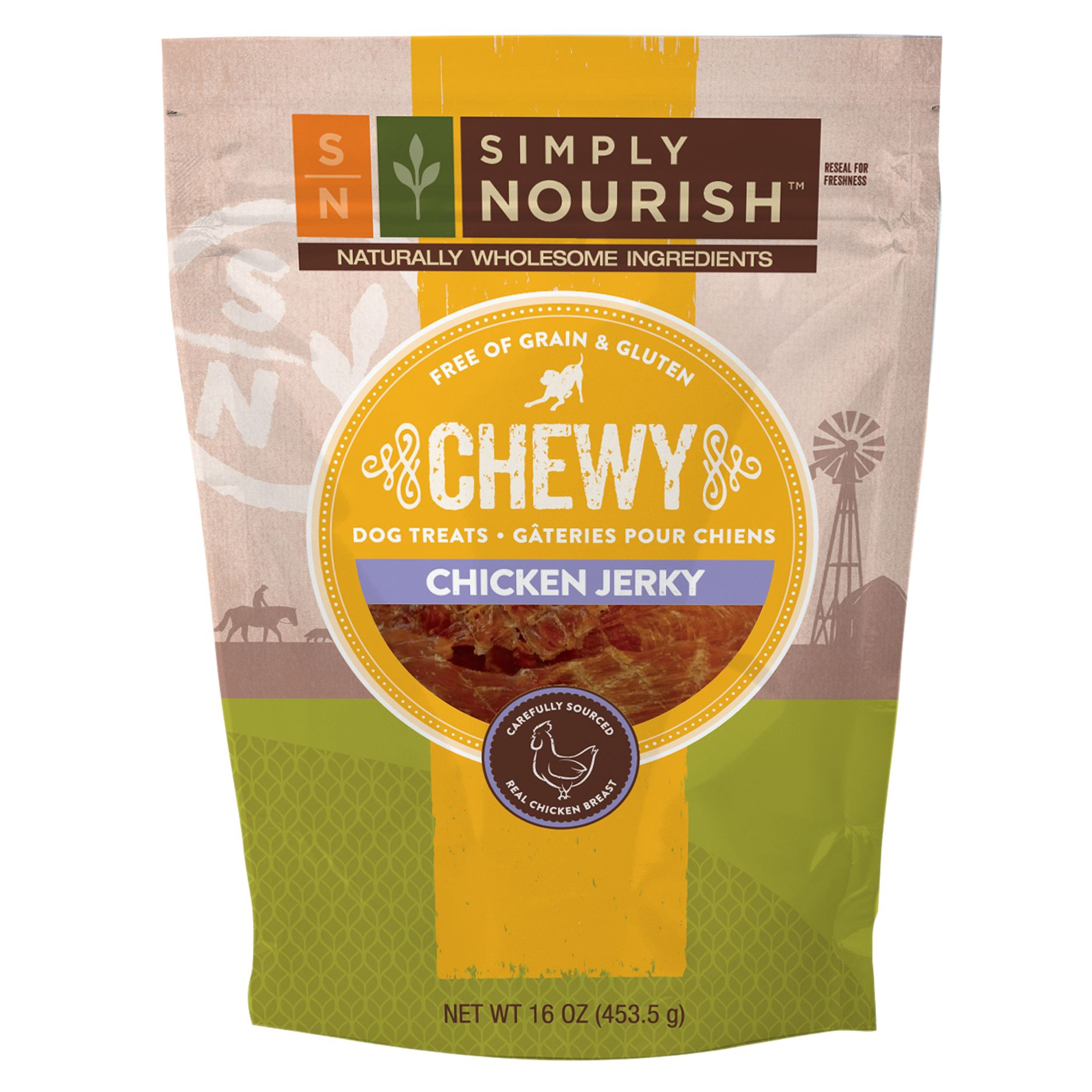 Simply Nourish Chewy Jerky Dog Treat Natural Grain Free Gluten Free Chicken Size 16 Oz