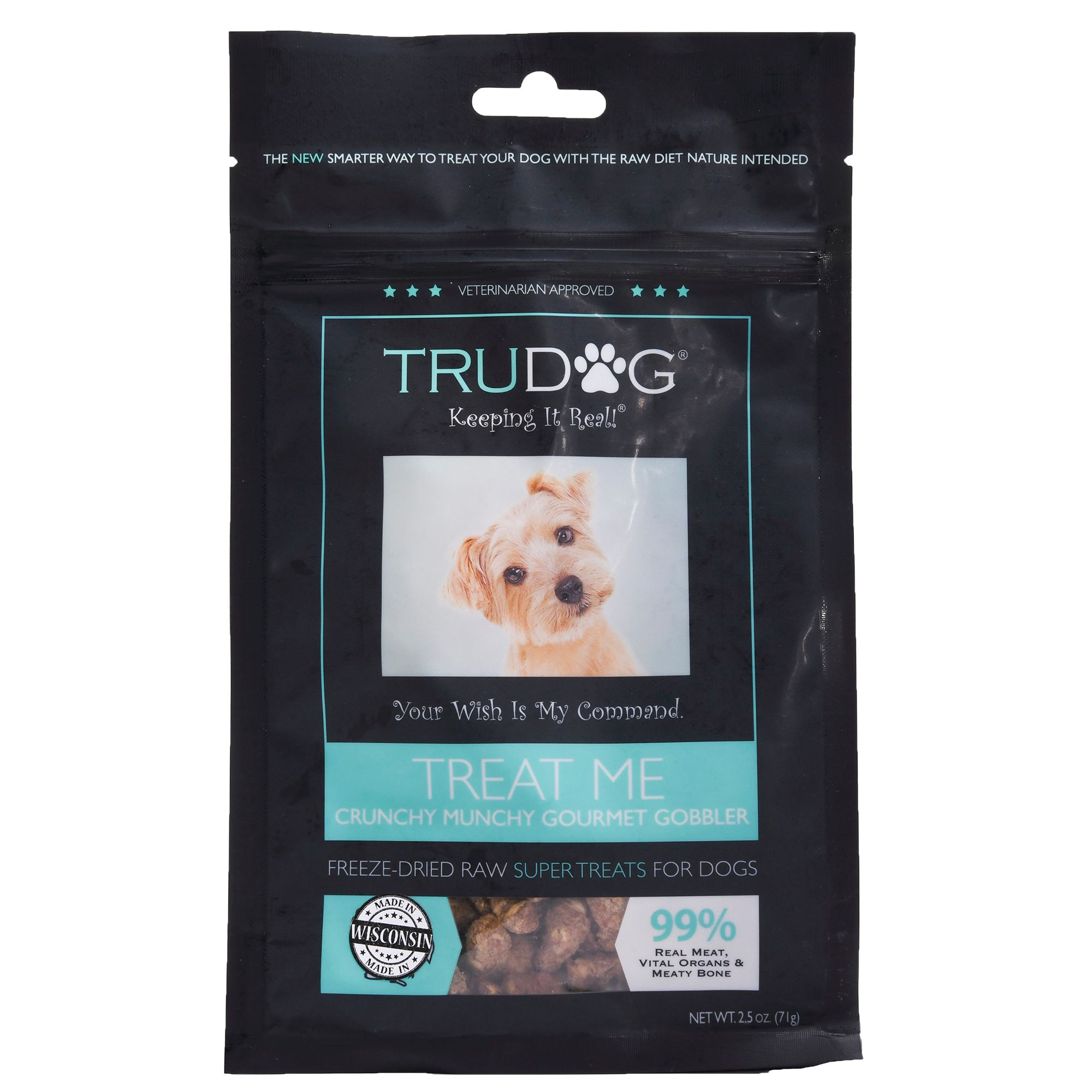 Trudog Treat Me Dog Treat Freeze Dried Raw Natural Gobbler Crunch Delight Size 2.5 Oz