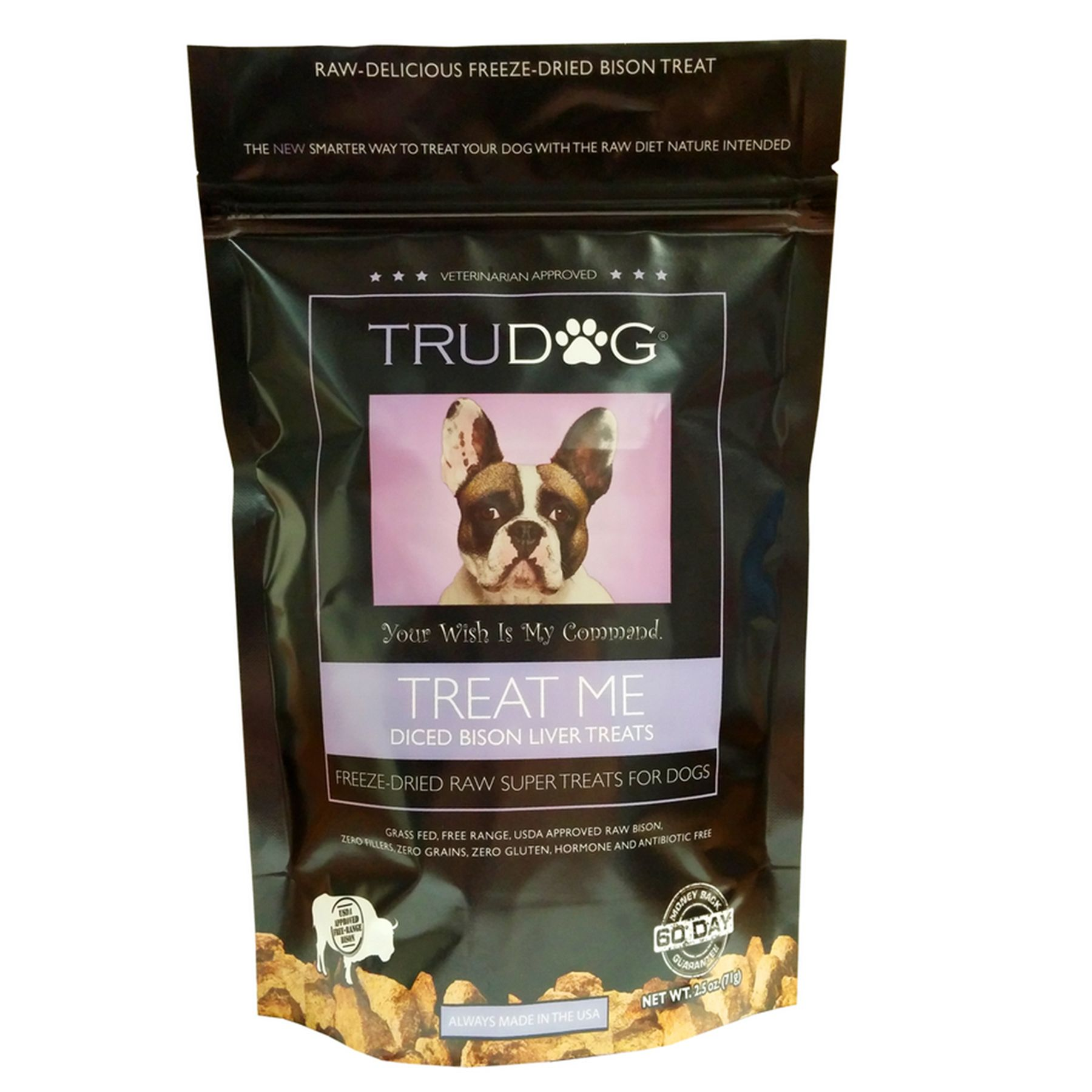 Trudog Treat Me Dog Treat Freeze Dried Raw Natural Bison Liver Size 2.5 Oz