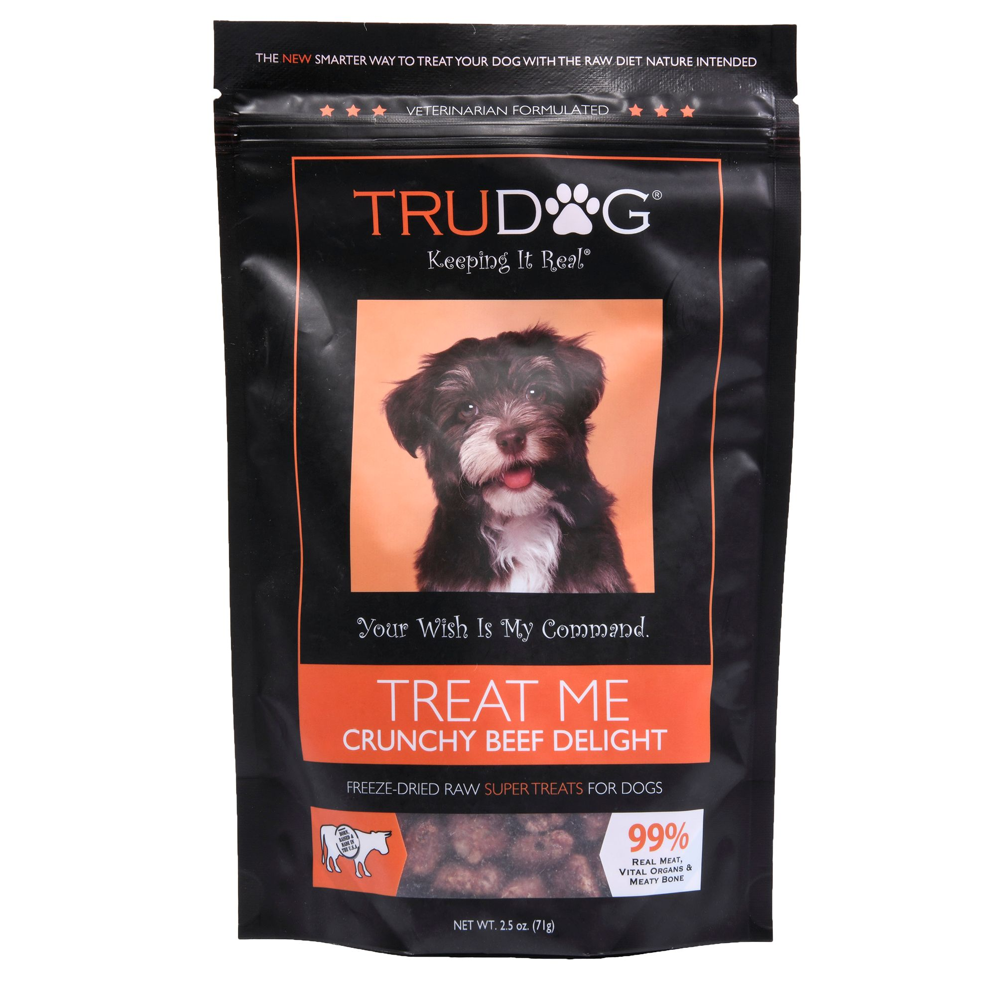 Trudog Treat Me Dog Treat Freeze Dried Raw Natural Crunchy Beef Delight Size 2.5 Oz