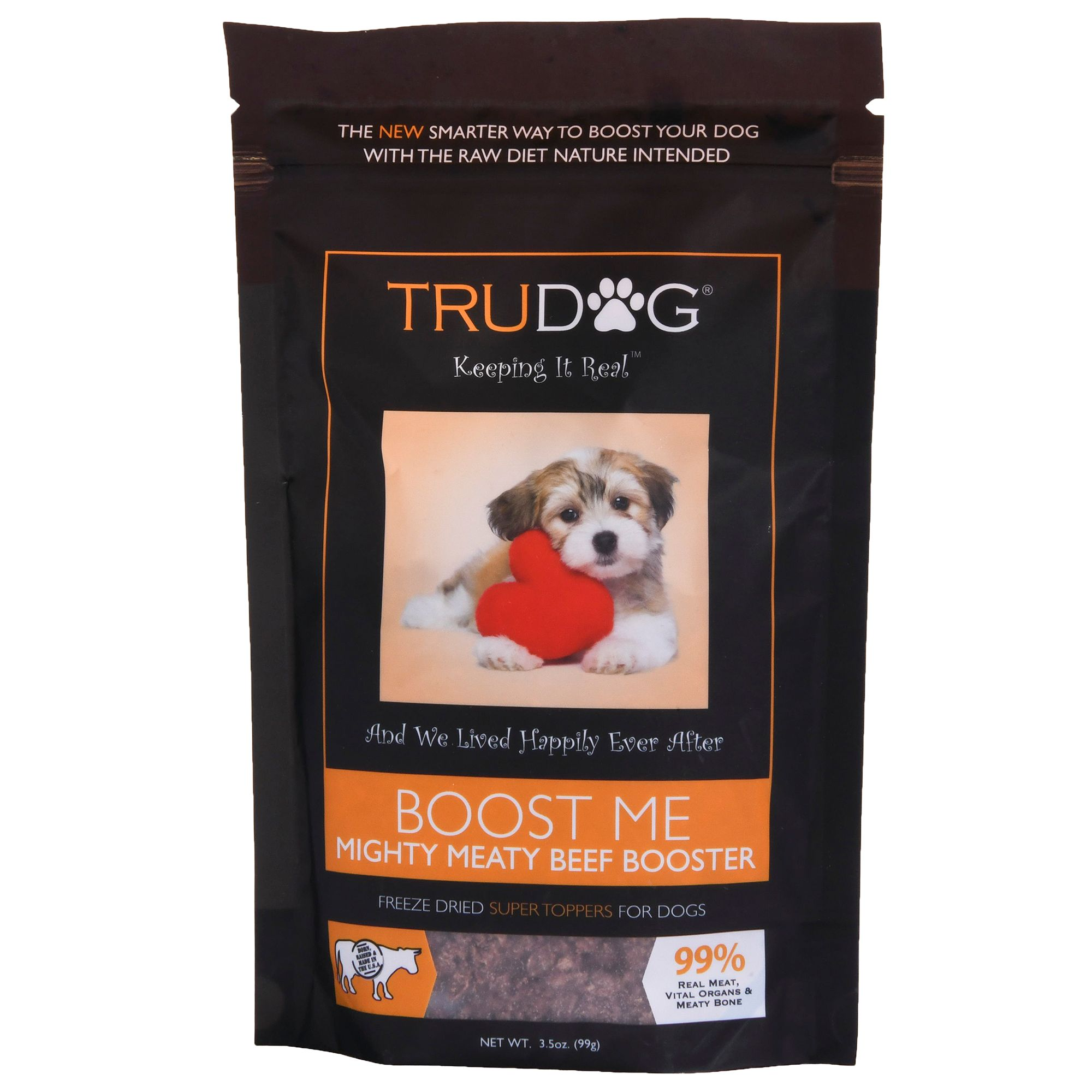 Trudog Boost Me Dog Food Enhancer Freeze Dried Raw Grain Free Natural Beef Size 3.5 Oz