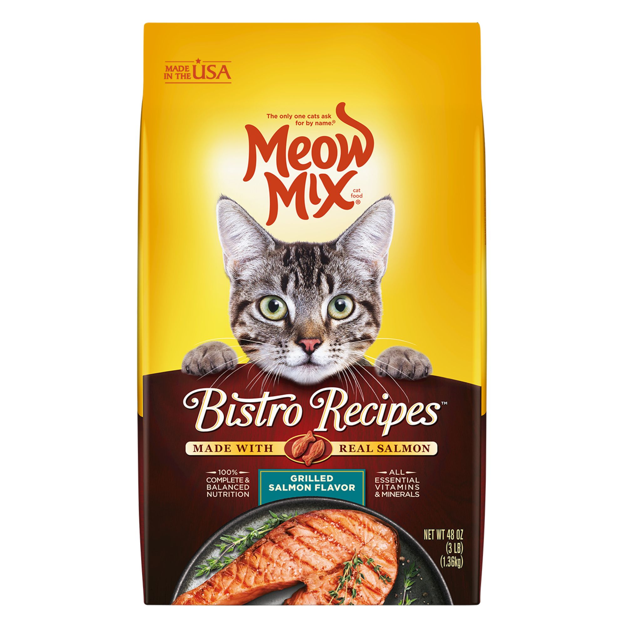 Meow Mix Bistro Recipes Cat Food Salmon Size 3 Lb