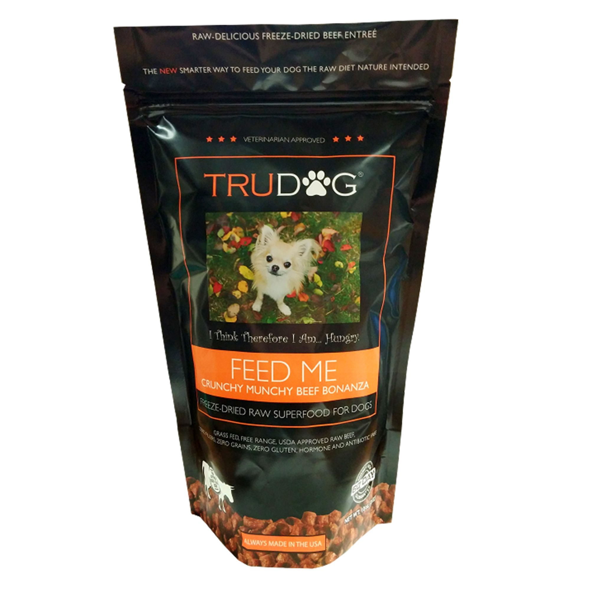 Trudog Feed Me Superfood Dog Food Freeze Dried Raw Natural Crunchy Munchy Beef Bonanza Size 10 Oz