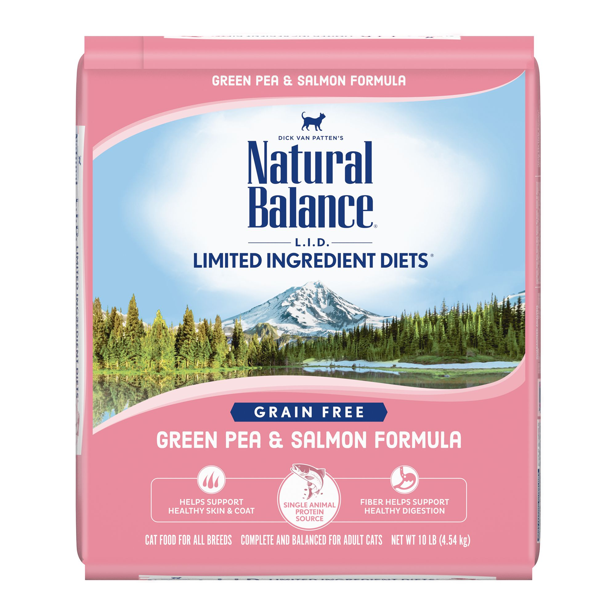 Natural Balance Limited Ingredient Diets Cat Food - Grain Free, Green Pea and Salmon size: 10 Lb, Kibble, Adult, Peas