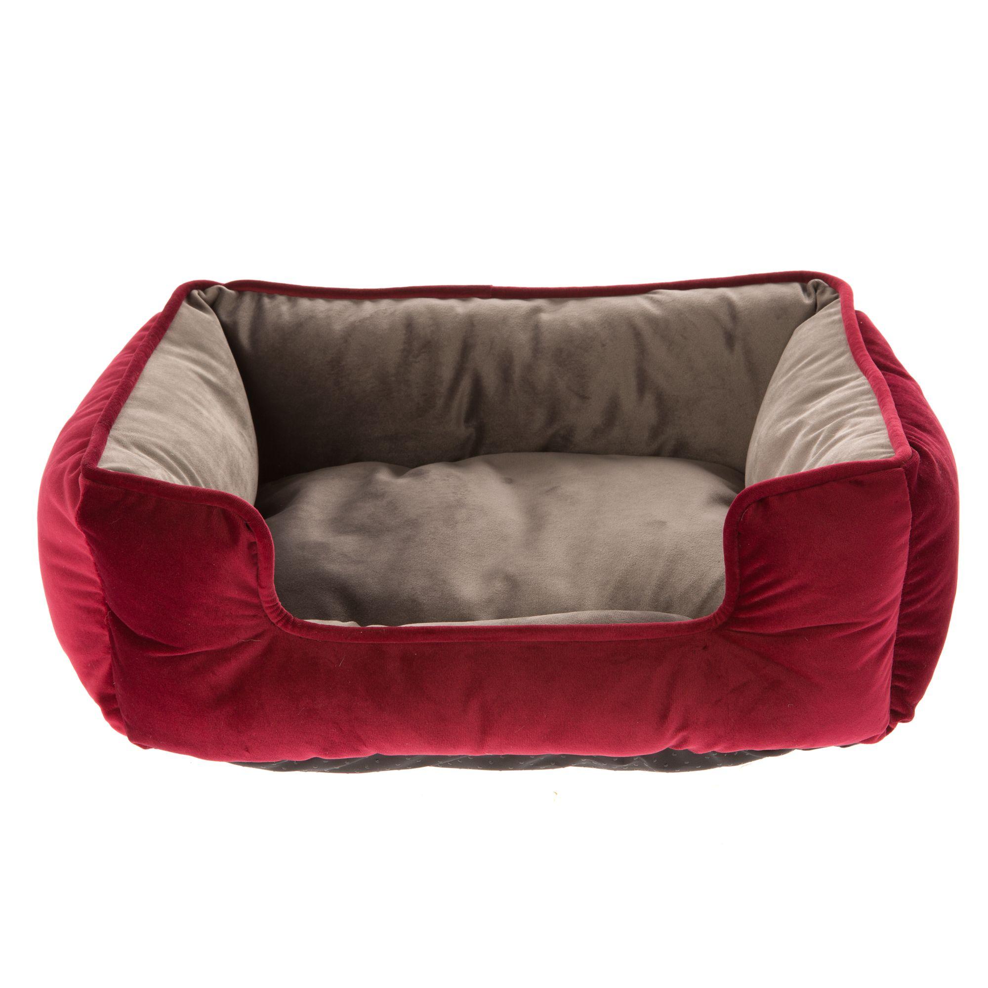 Top Paw Velvet Cuddler Dog Bed Size 21l X 25w X 8h Red