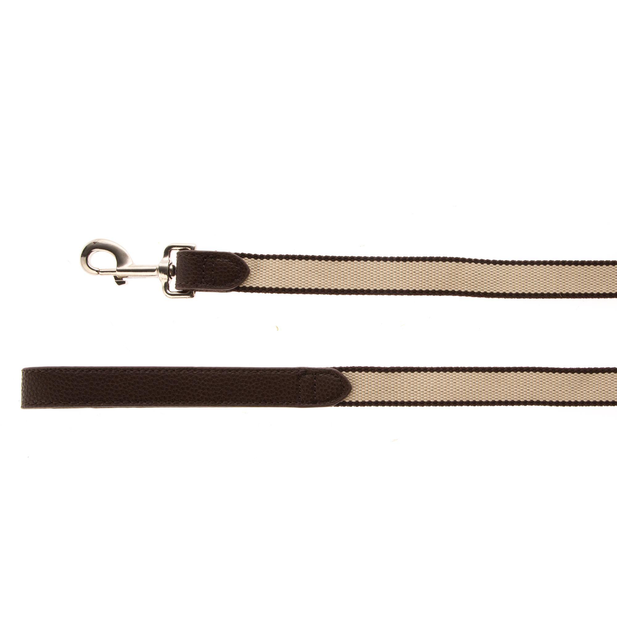 Top Paw Reg Classic Stripe Dog Leash Size 4 Ft Brown Cream image