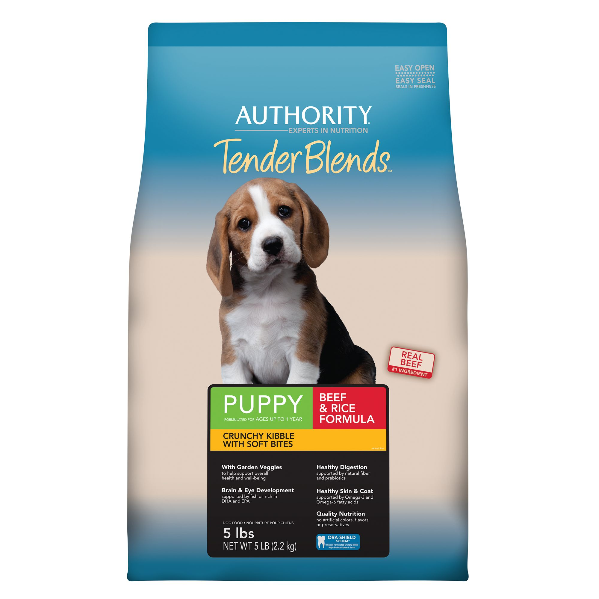 Authority Tender Blends Puppy Food - Beef and Rice size: 5 Lb, Beef & Rice, Kibble, Puppy (ages up to 1 year), Deboned Beef 5254629