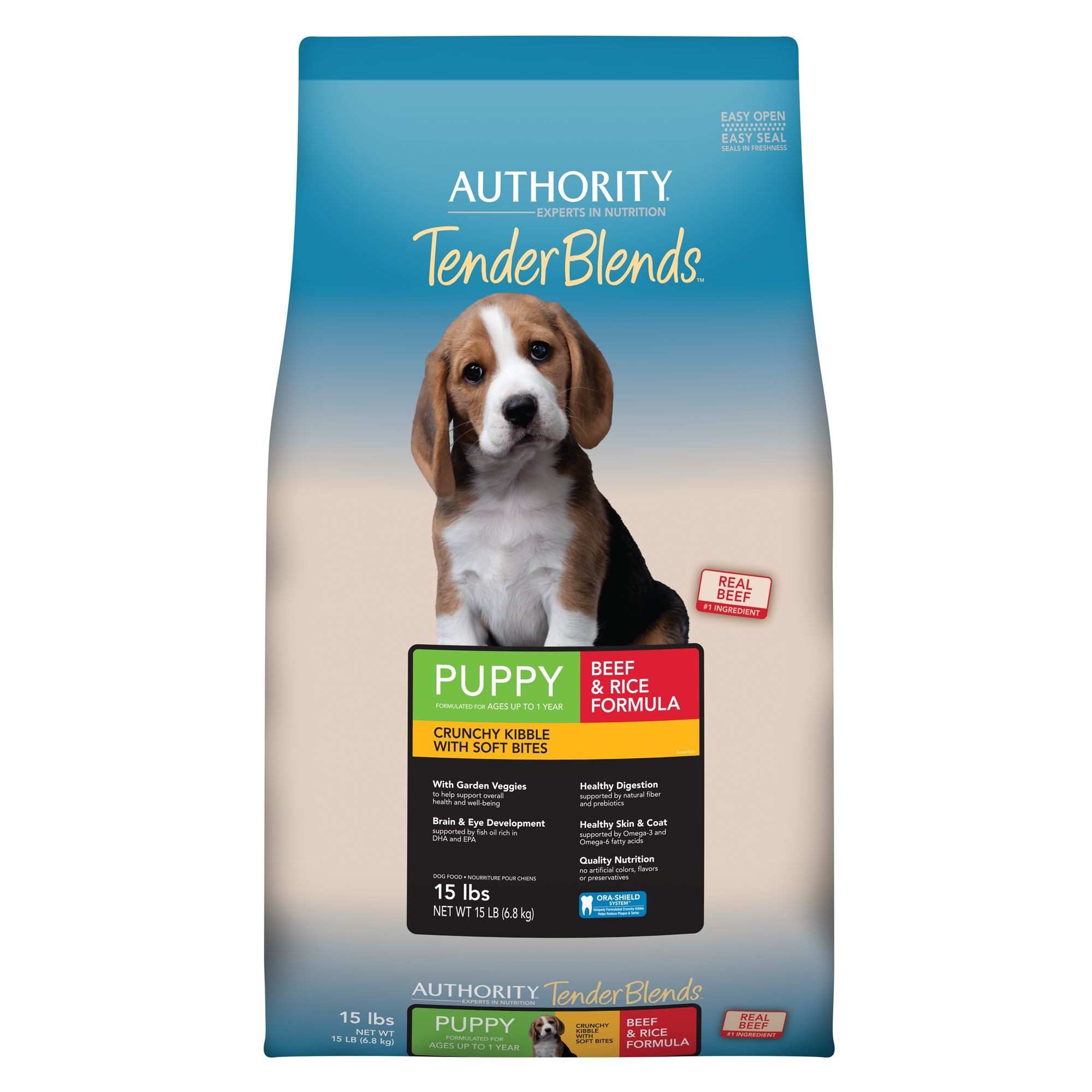 Authority Tender Blends Puppy Food - Beef and Rice size: 15 Lb 5254632