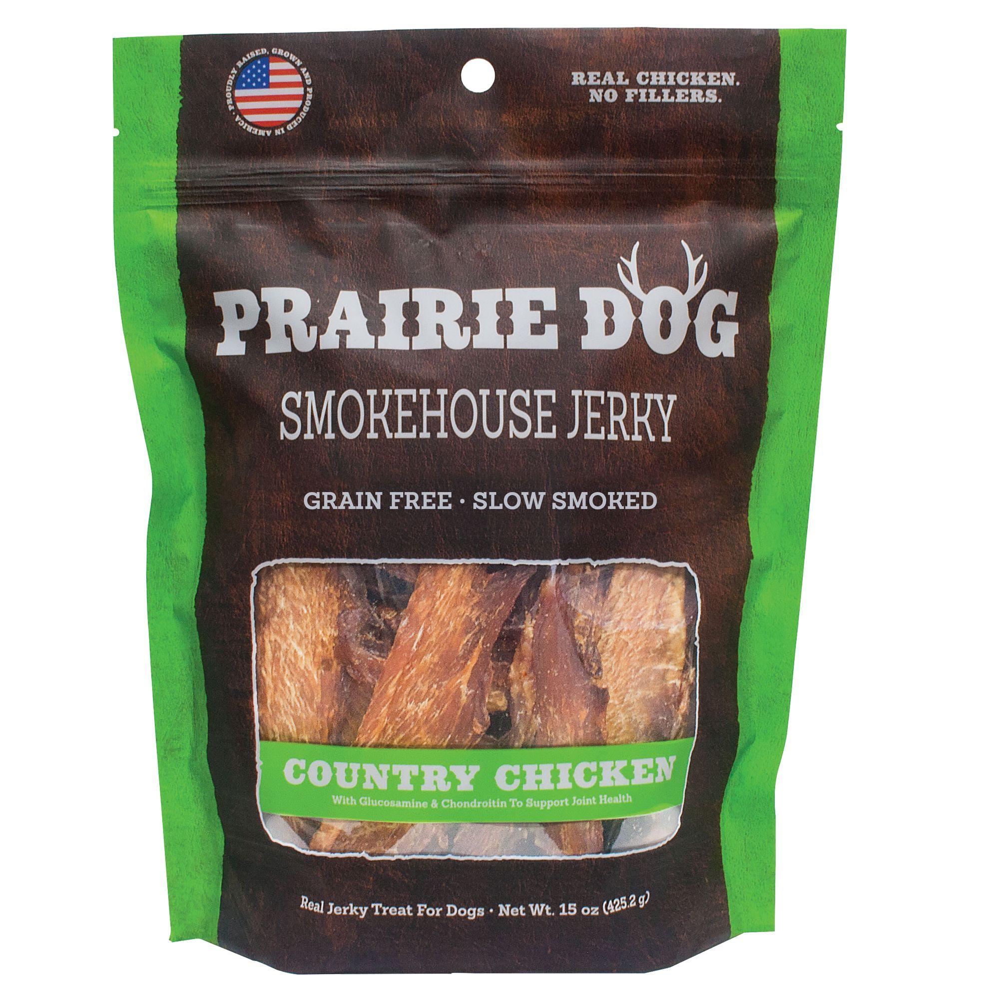 Prairie Dog Smokehouse Jerky Dog Treat Natural Grain Free Country Chicken Size 15 Oz