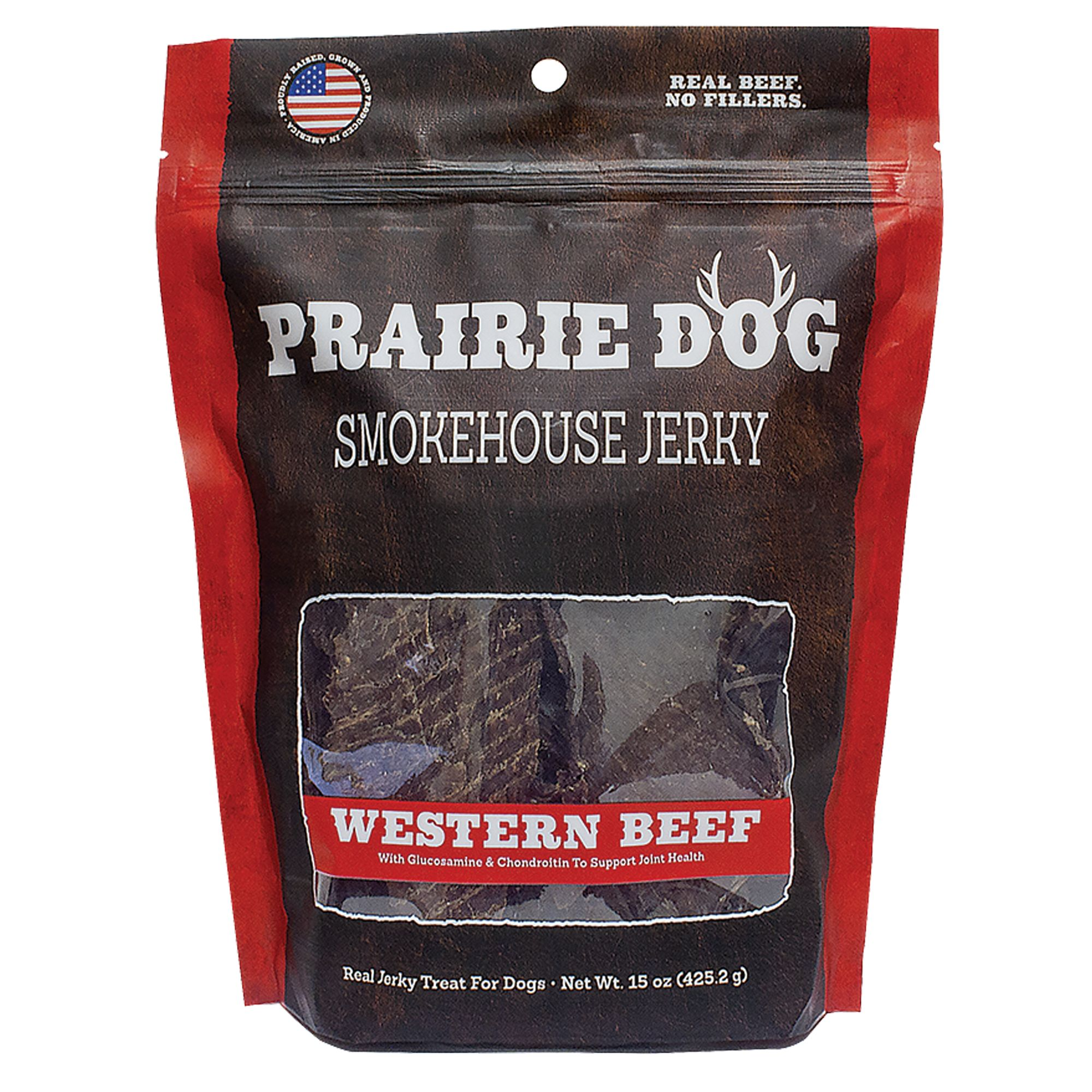 Prairie Dog Smokehouse Jerky Dog Treat Natural Grain Free Western Beef Size 15 Oz